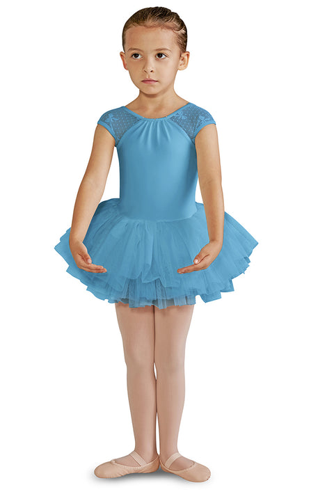 BLOCH CL8212 GIRLS BOW MESH CAP SLEEVE TUTU DRESS