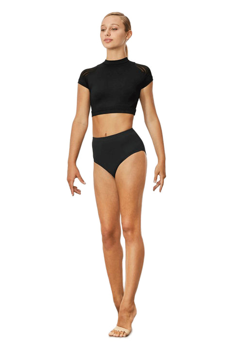 BLOCH Z3532 FALLEN WOMENS STRIPE MESH CAP-SLEEVE CROP TOP