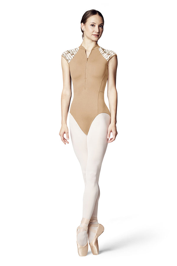 BLOCH L9942 WOMEN ZIP FRONT CAP SLEEVE LEOTARD