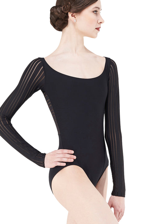 WEAR MOI ISIS WOMEN SQUARE MESH 3/4 SLEEVE LEOTARD