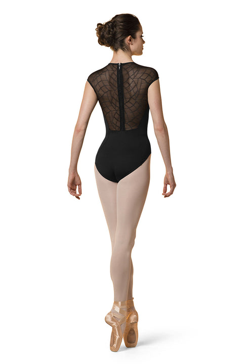 MIRELLA M5068LM WOMENS HIGH NECK ZIP-BACK CAP SLEEVE LEOTARD