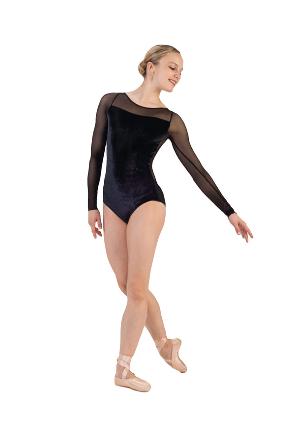 BALLET ROSA CHRISTA LADIES VELVET LONG SLEEVE LEOTARD