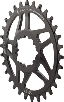 Wolf Tooth Elliptical Direct Mount Chainring - 32t, SRAM Direct Mount, Drop-Stop, For SRAM 3-Bolt Cranksets, 6mm Offset, Black