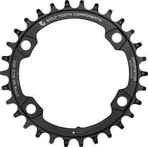 Wolf Tooth 96 BCD Chainring - 32t, 96 Asymmetric BCD, 4-Bolt, Drop-Stop, For Shimano XT M8000 and SLX M7000 Cranks, Black