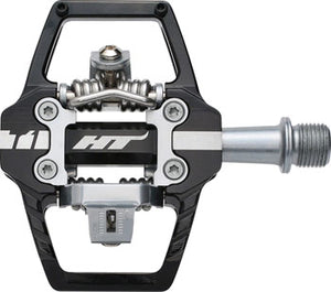 "HT T1 Enduro Race Pedals - Dual Sided Clipless with Platform, Aluminum, 9/16"", Black"