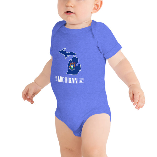 Baby's Onesie - Michigan - State Flag