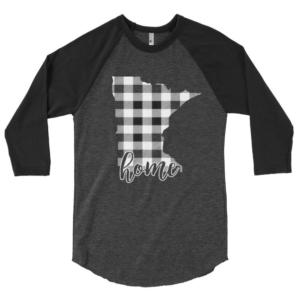 Men's 3/4 sleeve raglan shirt - Minnesota - Tartan Plaid