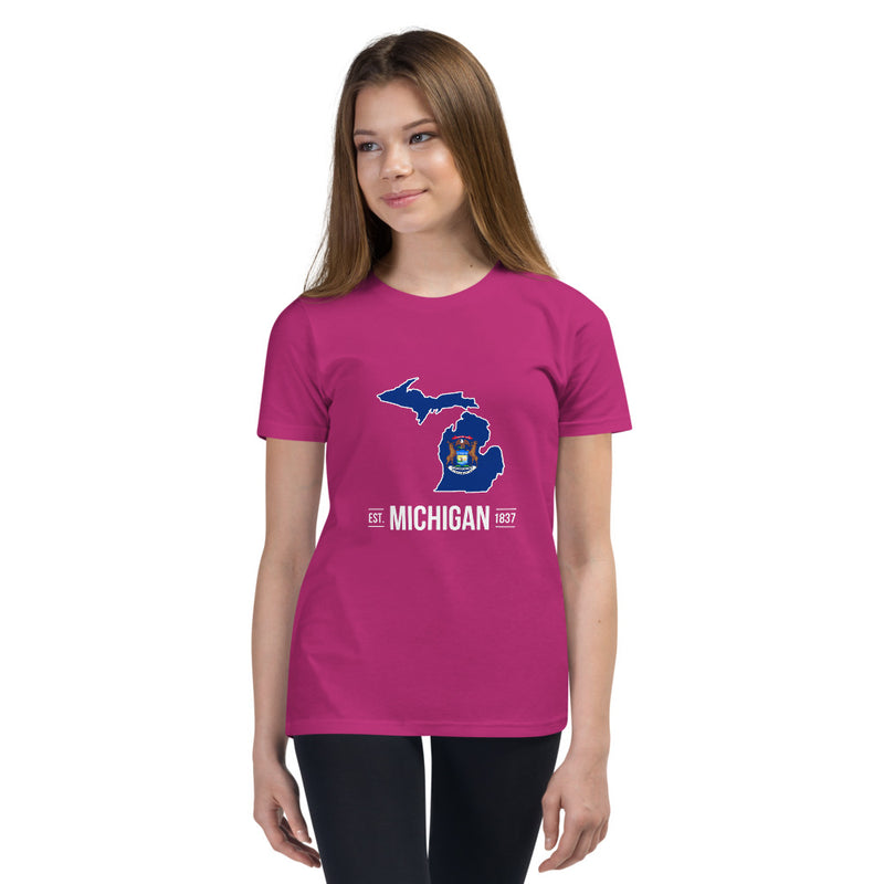 Girl's T-Shirt - Michigan - State Flag