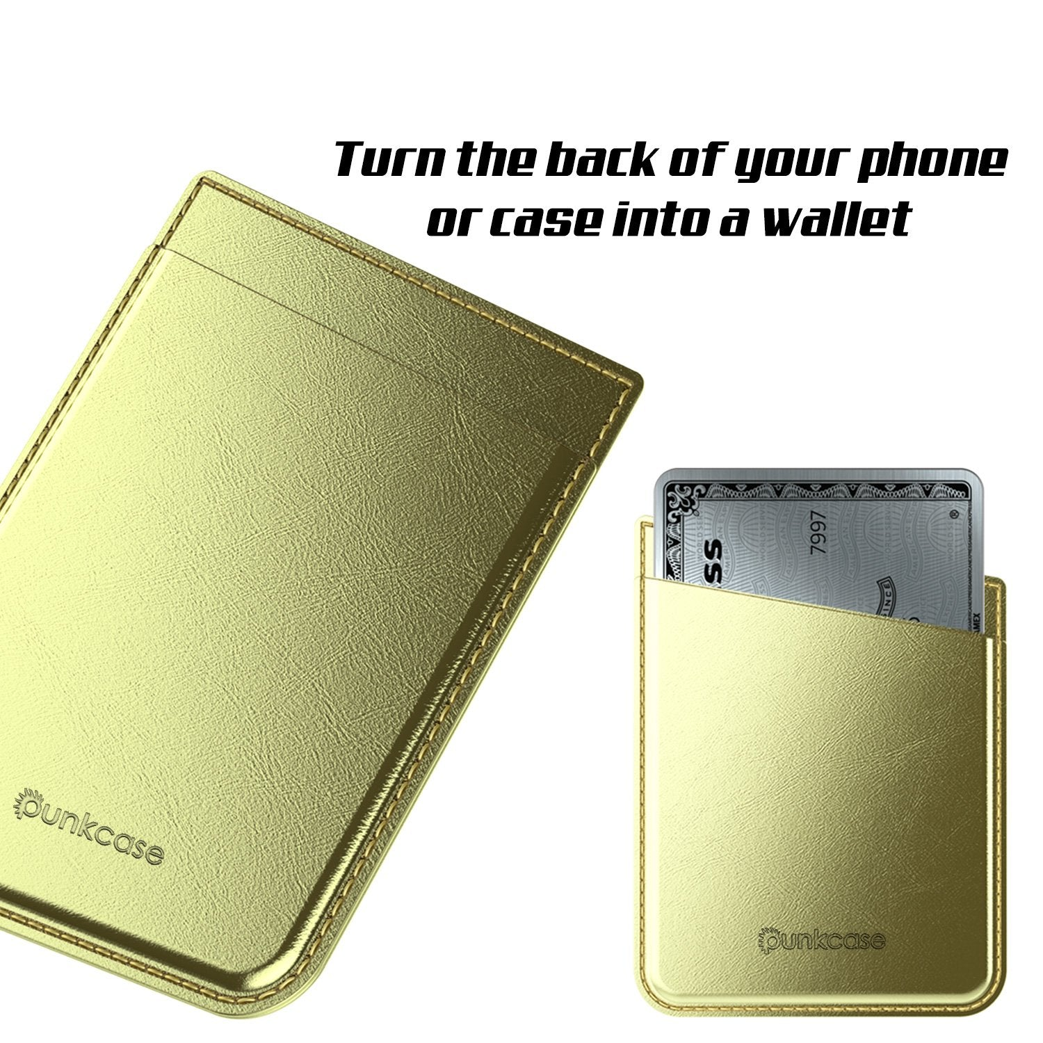 PunkCase CardStud Deluxe Stick On Wallet | Adhesive Card Holder Attachment for Back of iPhone, Android & More | Leather Pouch | [Gold] - PunkCase NZ