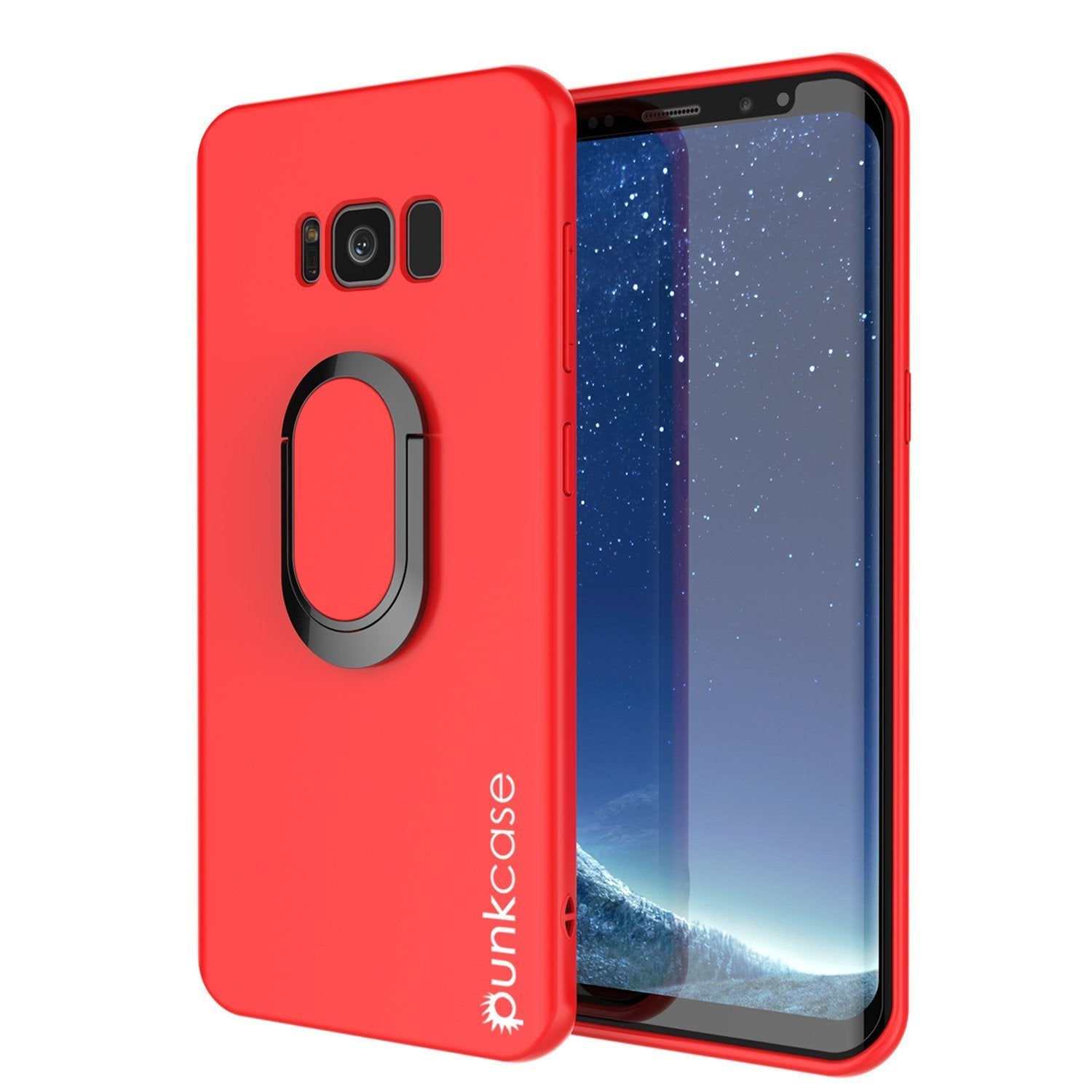 Galaxy S8 PLUS, Punkcase Magnetix Protective TPU Cover W/ Kickstand, Screen Protector [Red]