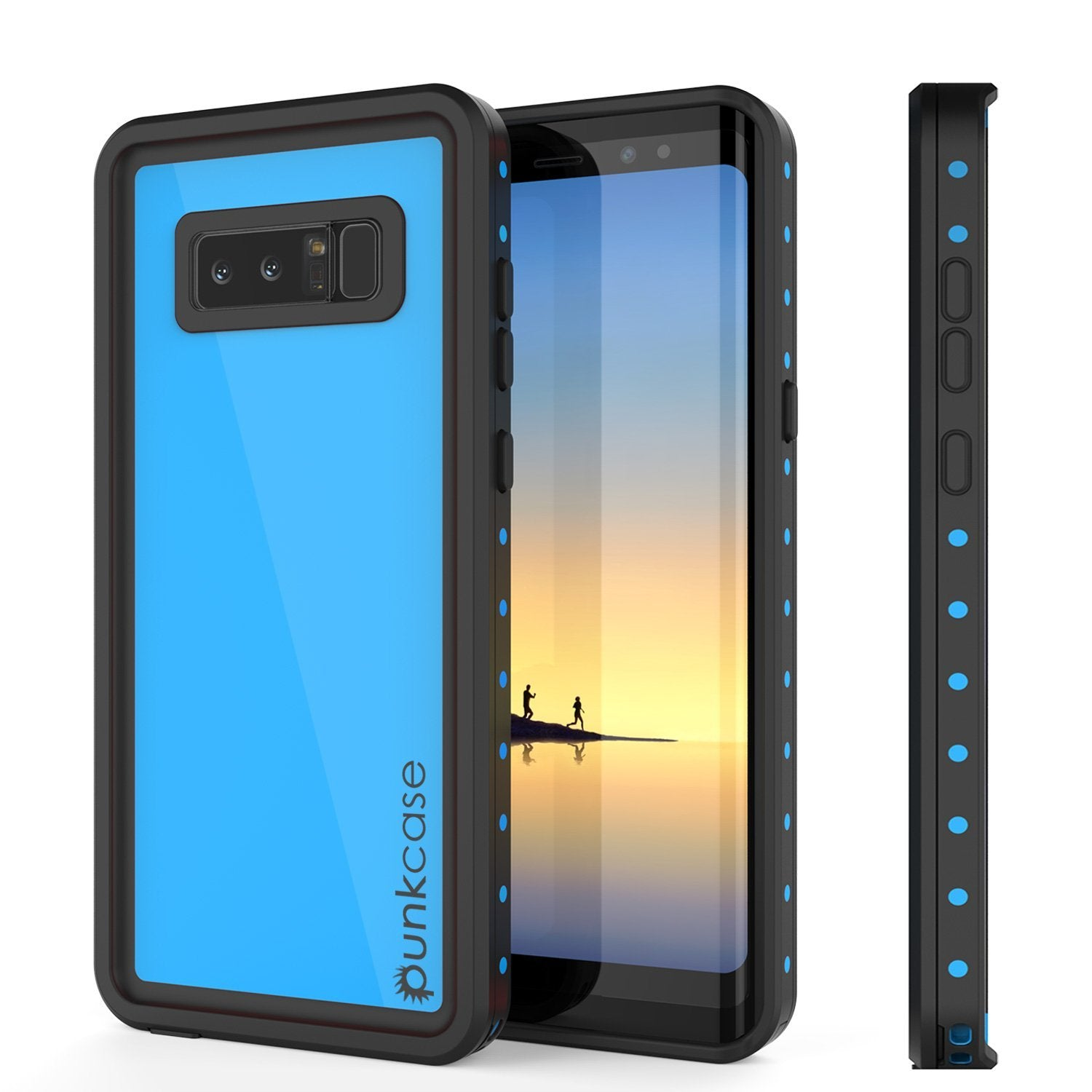 Galaxy Note 8 Waterproof Case PunkCase StudStar Light Blue Thin 6.6ft Underwater IP68 ShockProof