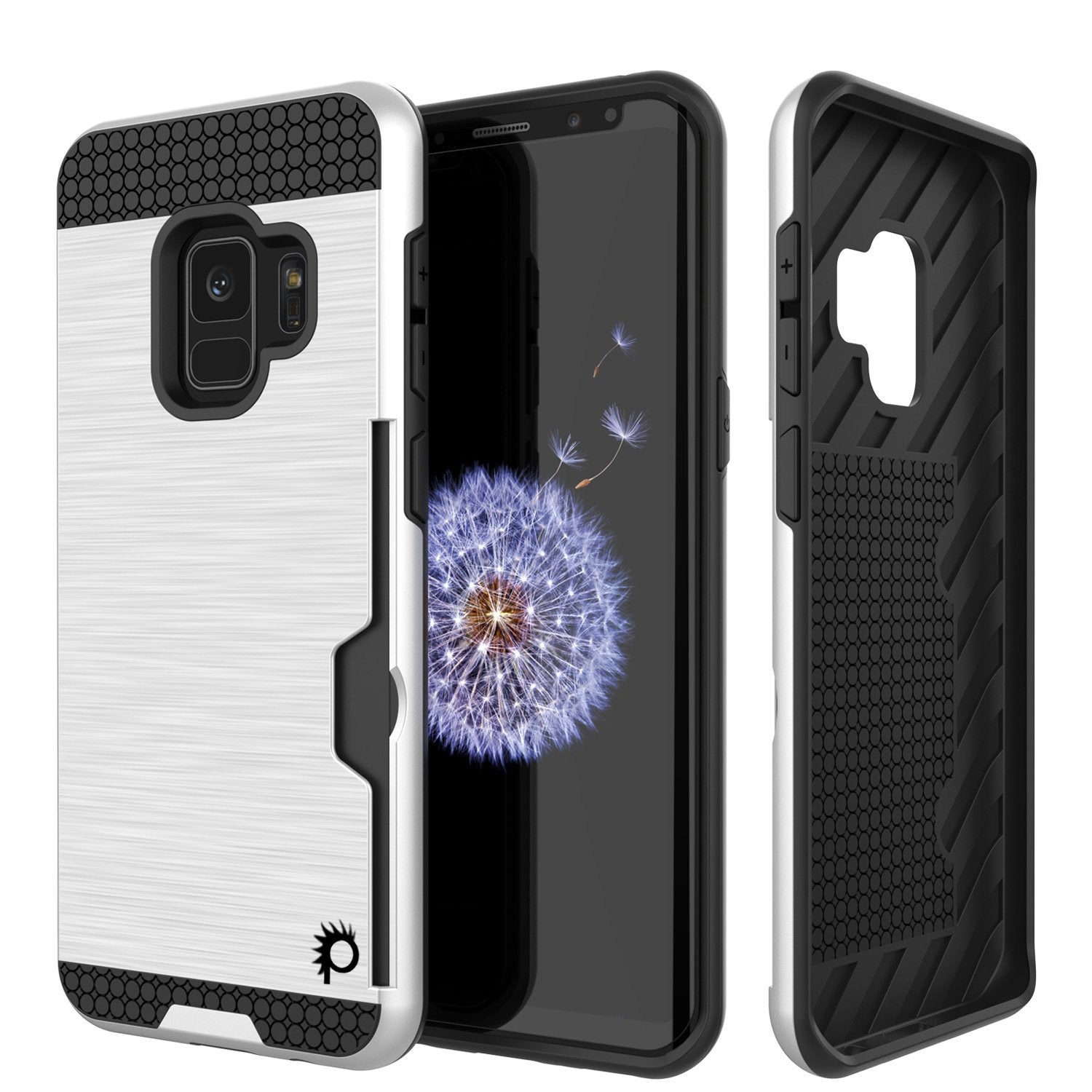 Galaxy S9 Case, PUNKcase [SLOT Series] [Slim Fit] Dual-Layer Armor Cover w/Integrated Anti-Shock System, Credit Card Slot & Screen Protector [White]