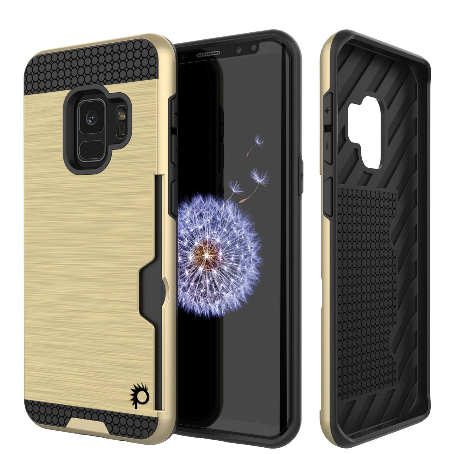 Galaxy S9 Case, PUNKcase [SLOT Series] [Slim Fit] Dual-Layer Armor Cover w/Integrated Anti-Shock System, Credit Card Slot [Gold]