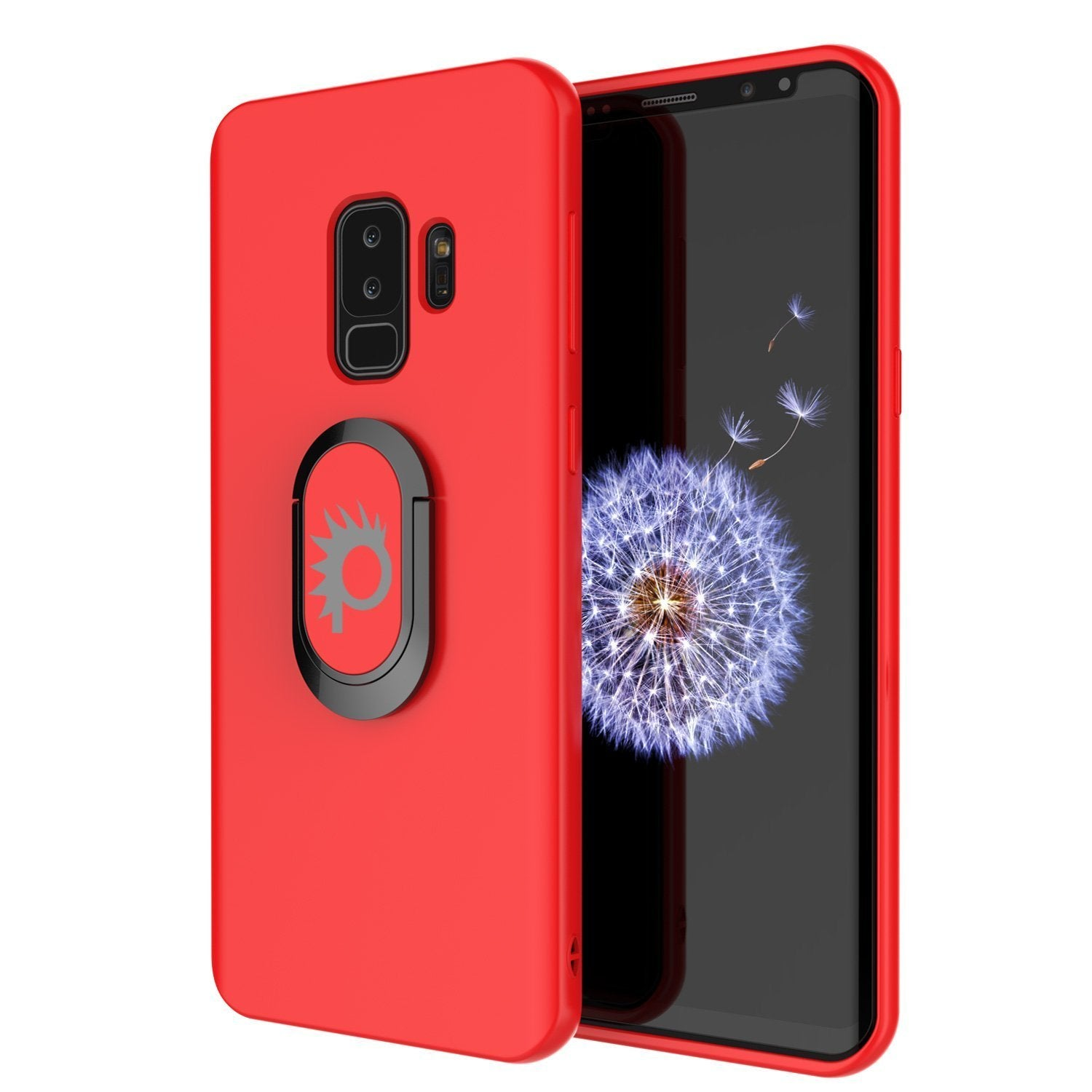 Galaxy S9 PLUS, Punkcase Magnetix Protective TPU Cover W/ Kickstand, Ring Grip Holder & Metal Plate for Magnetic Car Phone Mount PLUS PunkShield Screen Protector for Samsung S9+ Edge [Red]
