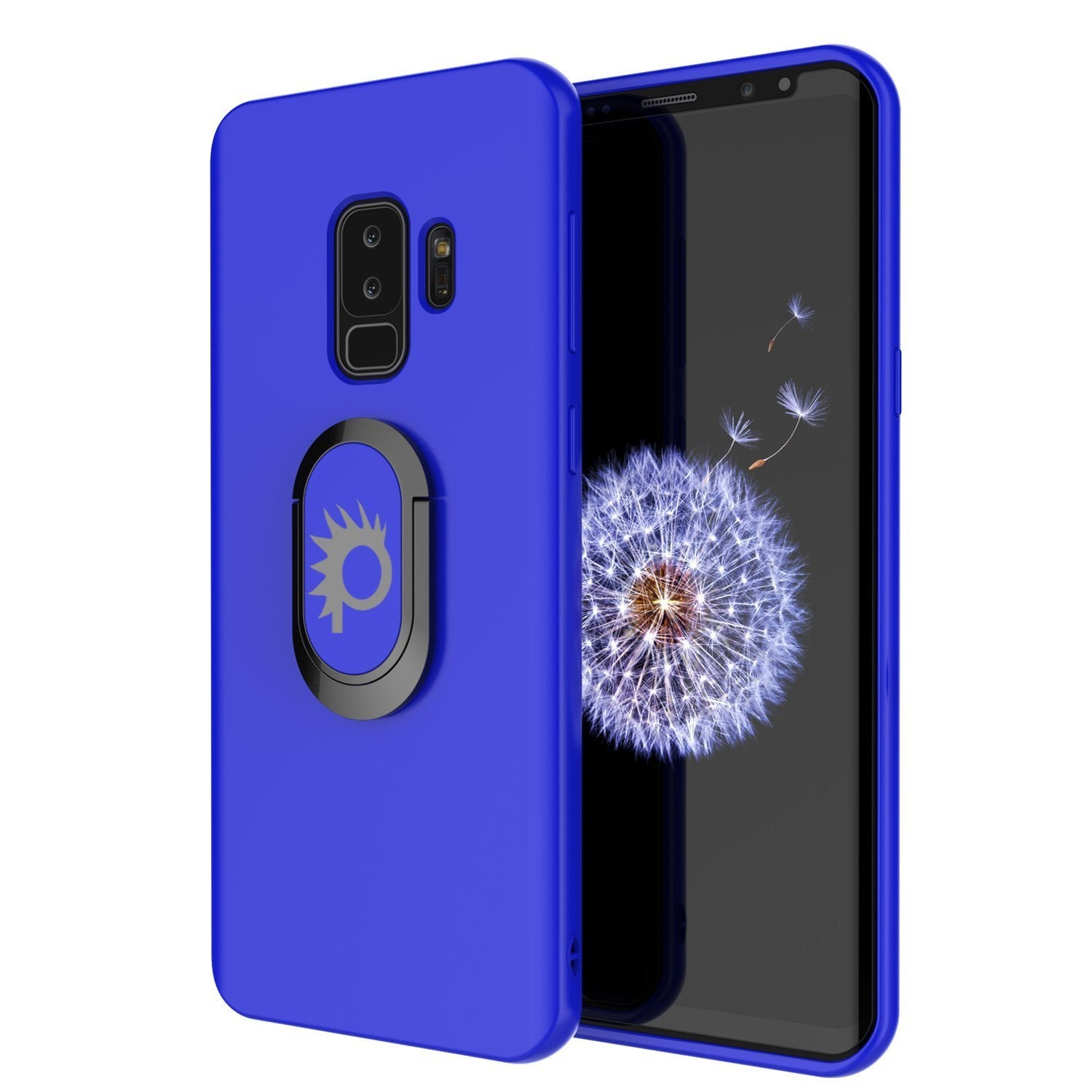 Galaxy S9 PLUS, Punkcase Magnetix Protective TPU Cover W/ Kickstand, Ring Grip Holder & Metal Plate for Magnetic Car Phone Mount PLUS PunkShield Screen Protector for Samsung S9+ Edge [Blue]