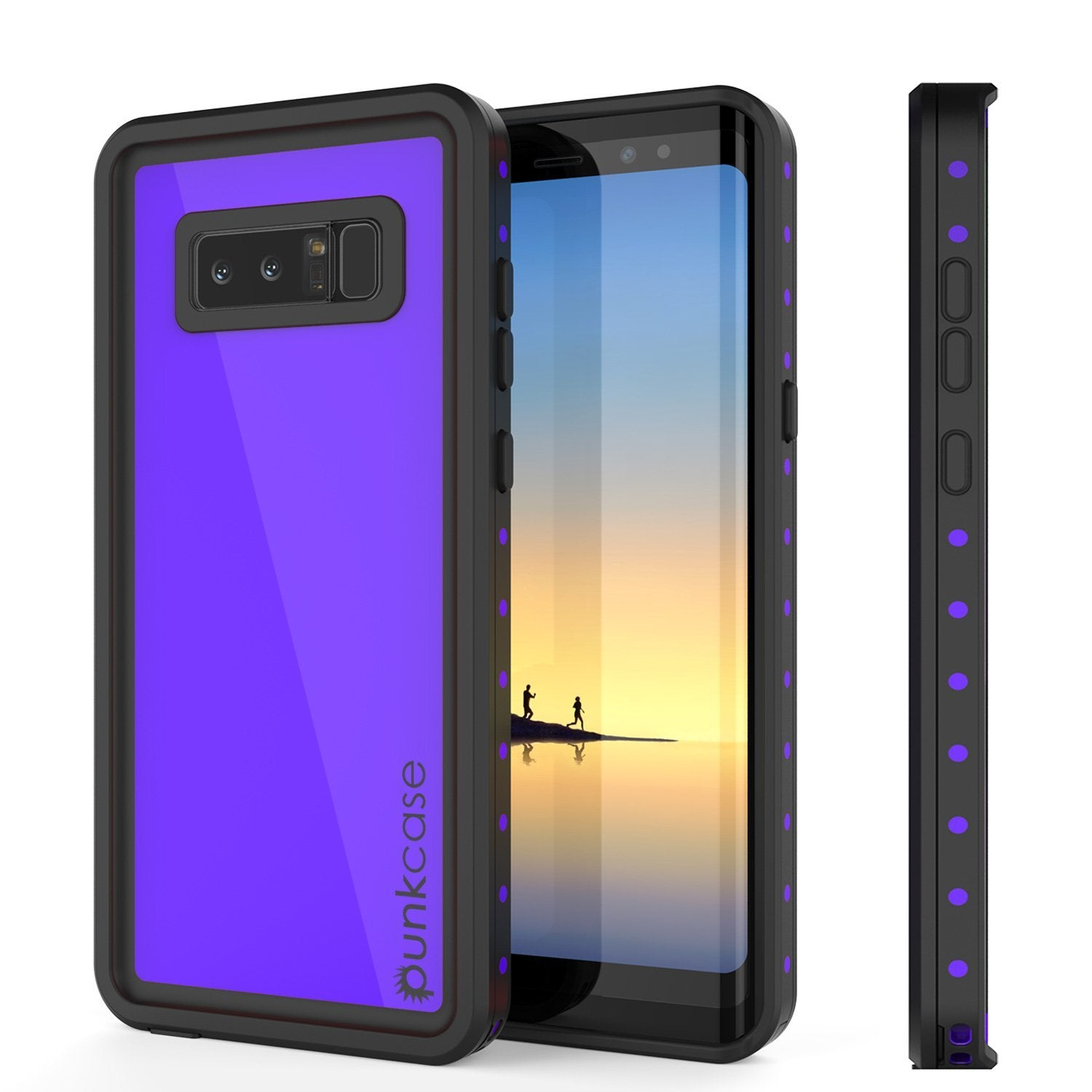 Note 8 Waterproof Case PunkCase StudStar Purple Thin 6.6ft Underwater IP68 Shock/Snow Proof