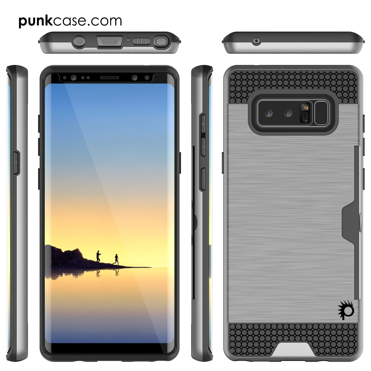 Galaxy Note 8 Case, PUNKcase [SLOT Series] [Slim Fit] Dual-Layer Armor Cover w/Integrated Anti-Shock System, Credit Card Slot [Grey] - PunkCase NZ
