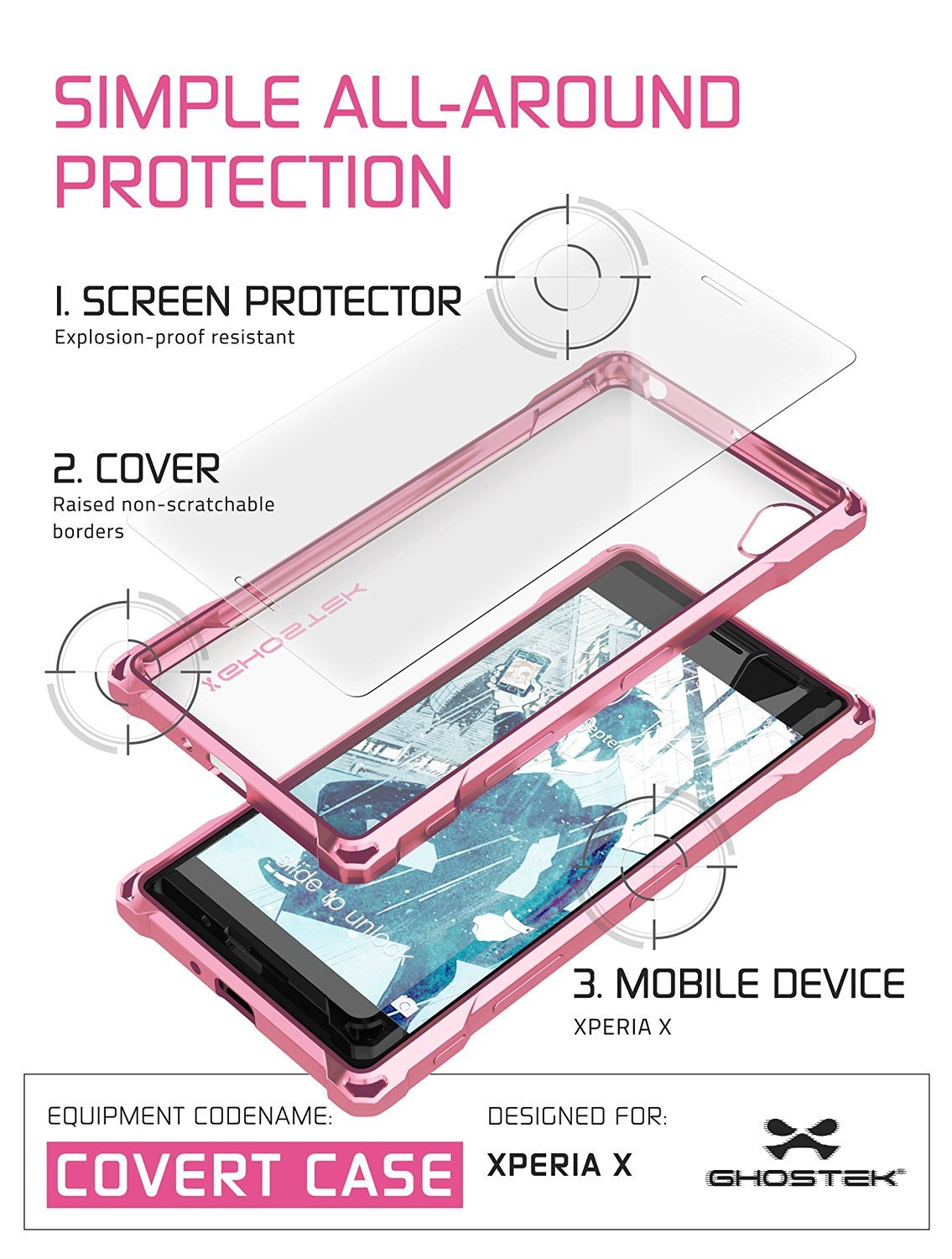 Xperia X Case, Ghostek® Covert Rose Pink  | Clear TPU | Warranty | Screen Protector | Ultra Fit - PunkCase NZ