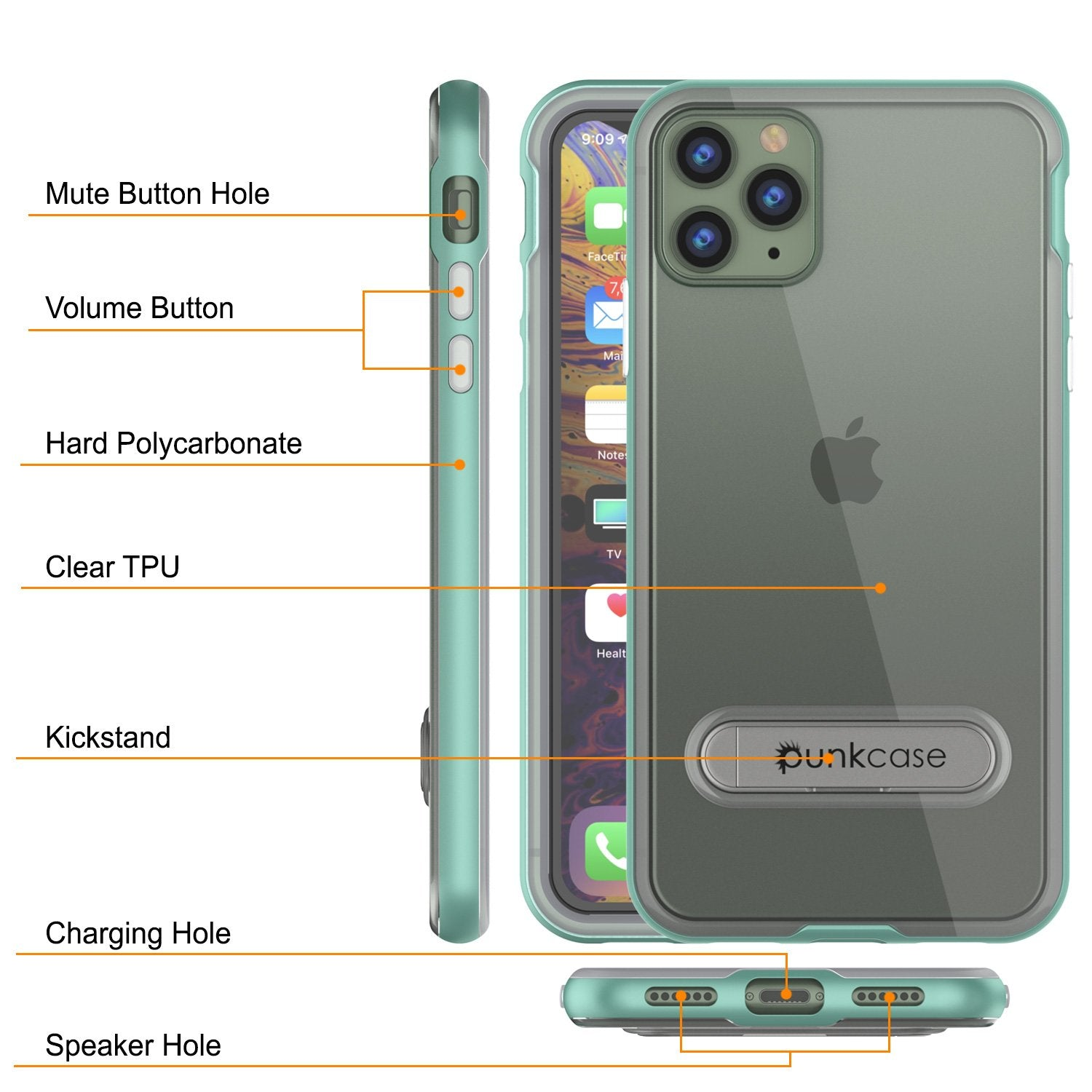 iPhone 12 Pro Max Case, PUNKcase [LUCID 3.0 Series] [Slim Fit] Protective Cover w/ Integrated Screen Protector [Teal]