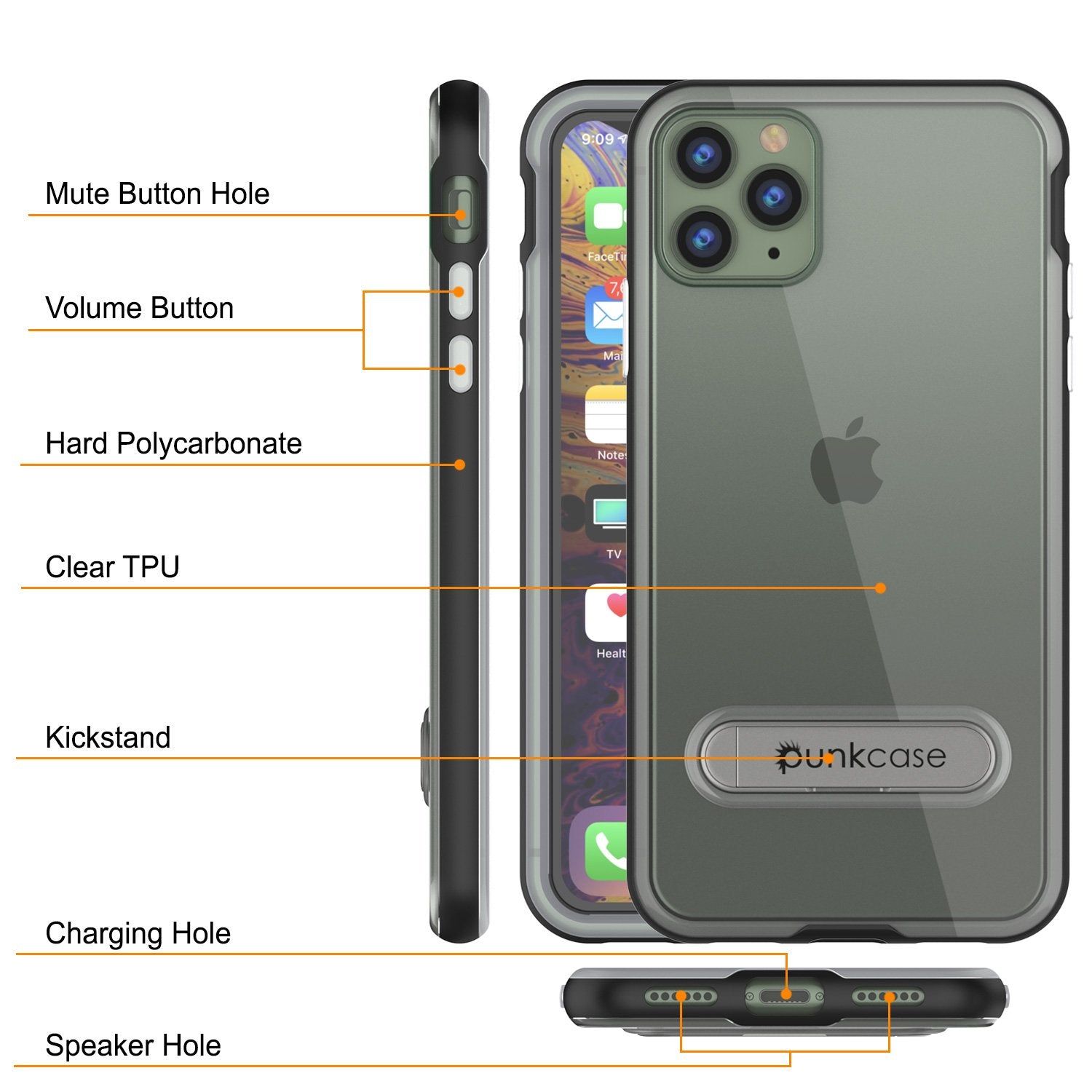 iPhone 12 Pro Max Case, PUNKcase [LUCID 3.0 Series] [Slim Fit] Protective Cover w/ Integrated Screen Protector [Black]