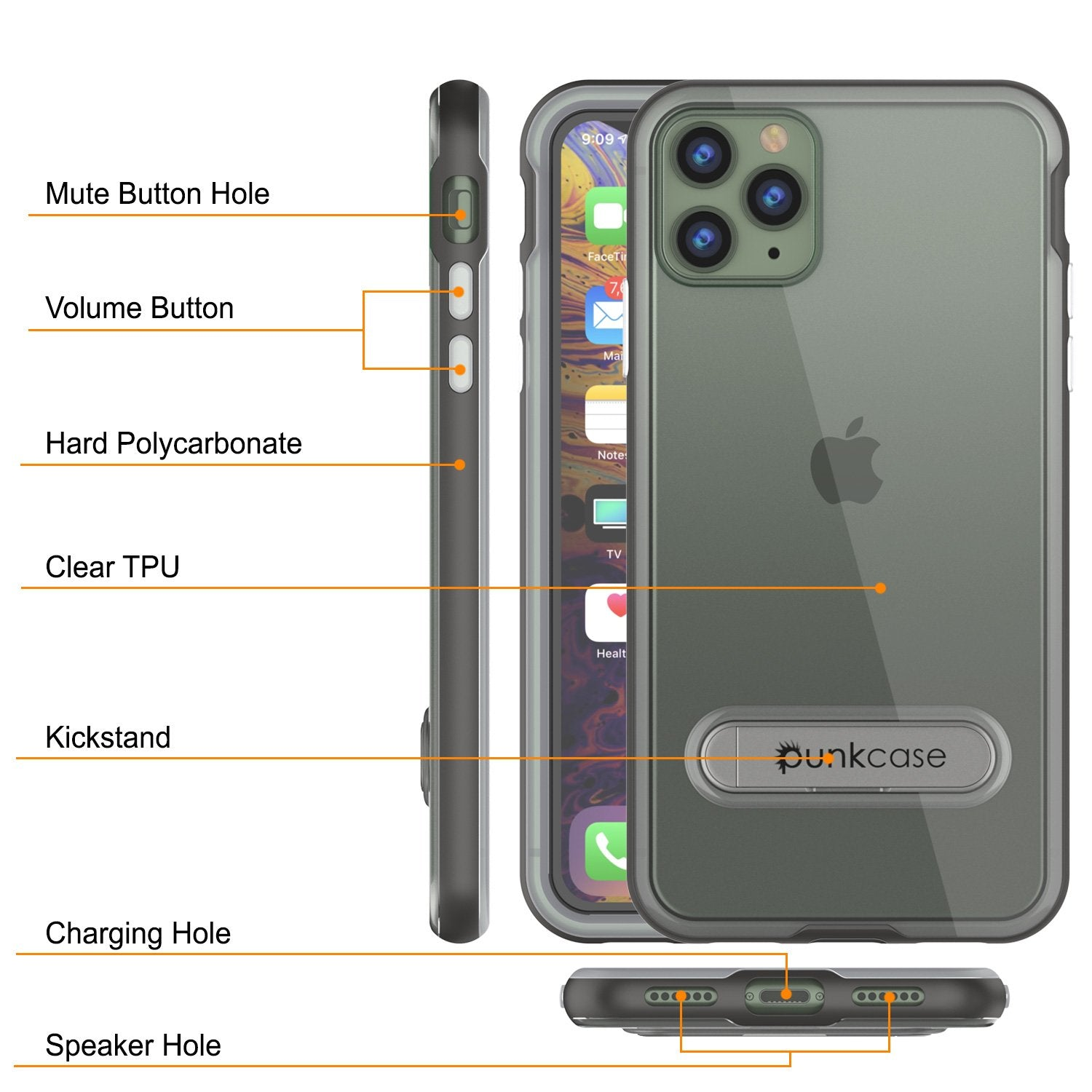 iPhone 12 Pro Max Case, PUNKcase [LUCID 3.0 Series] [Slim Fit] Protective Cover w/ Integrated Screen Protector [Grey]