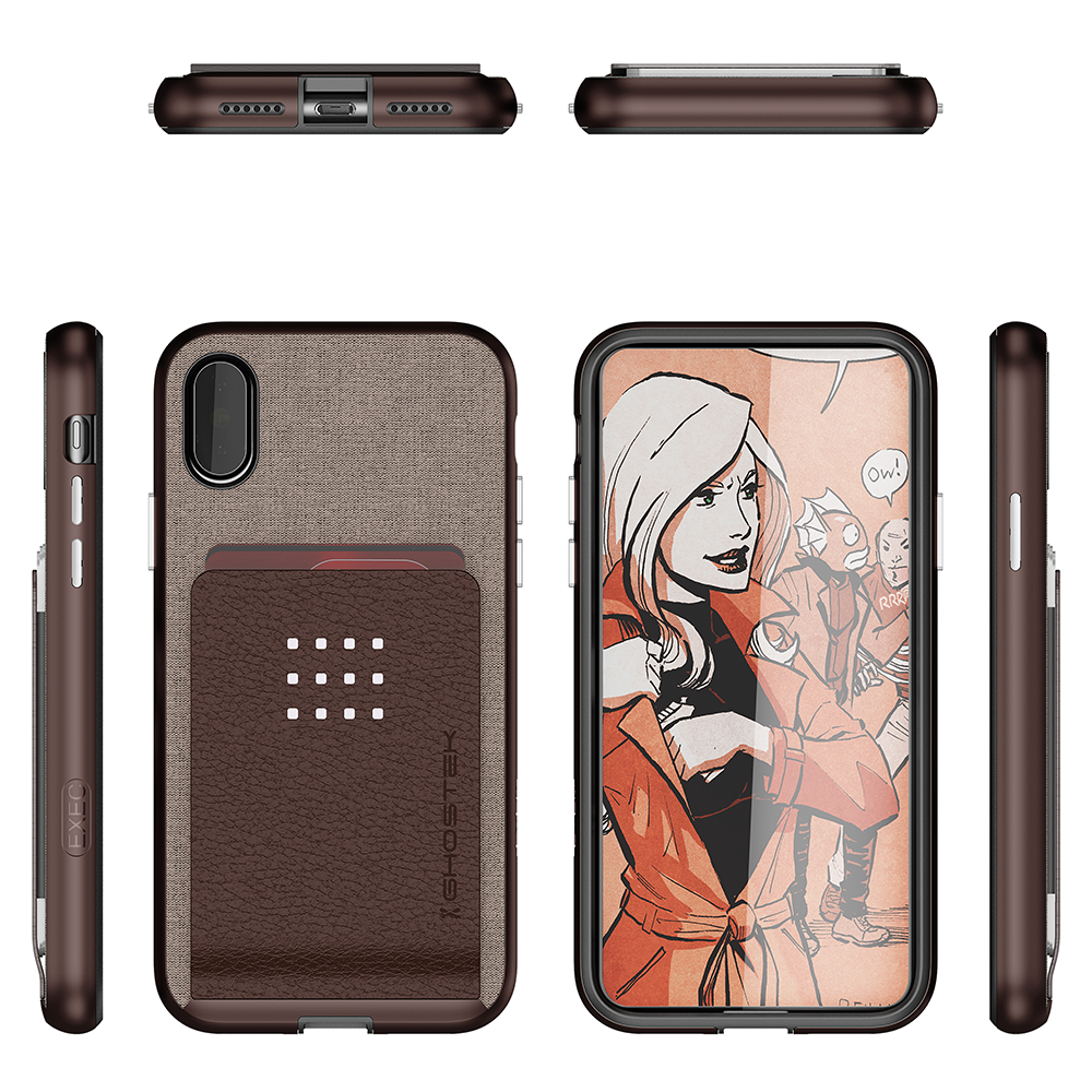iPhone X Case, Ghostek Exec 2 Series for iPhone X / iPhone Pro Protective Wallet Case [BROWN] - PunkCase NZ