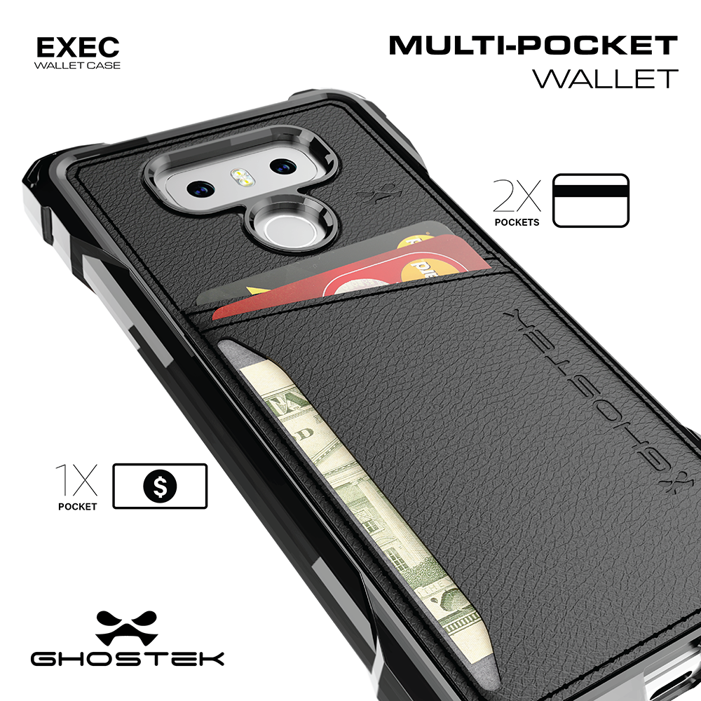 LG G6 Wallet Case, Ghostek Exec Brown Series | Slim Armor Hybrid Impact Bumper | TPU PU Leather Credit Card Slot Holder Sleeve Cover - PunkCase NZ