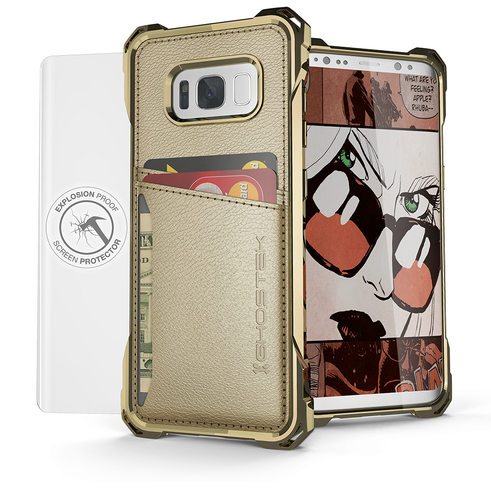 Galaxy S8 Wallet Case, Ghostek Exec Gold Series | Slim Armor Hybrid Impact Bumper | TPU PU Leather Credit Card Slot Holder Sleeve Cover - PunkCase NZ