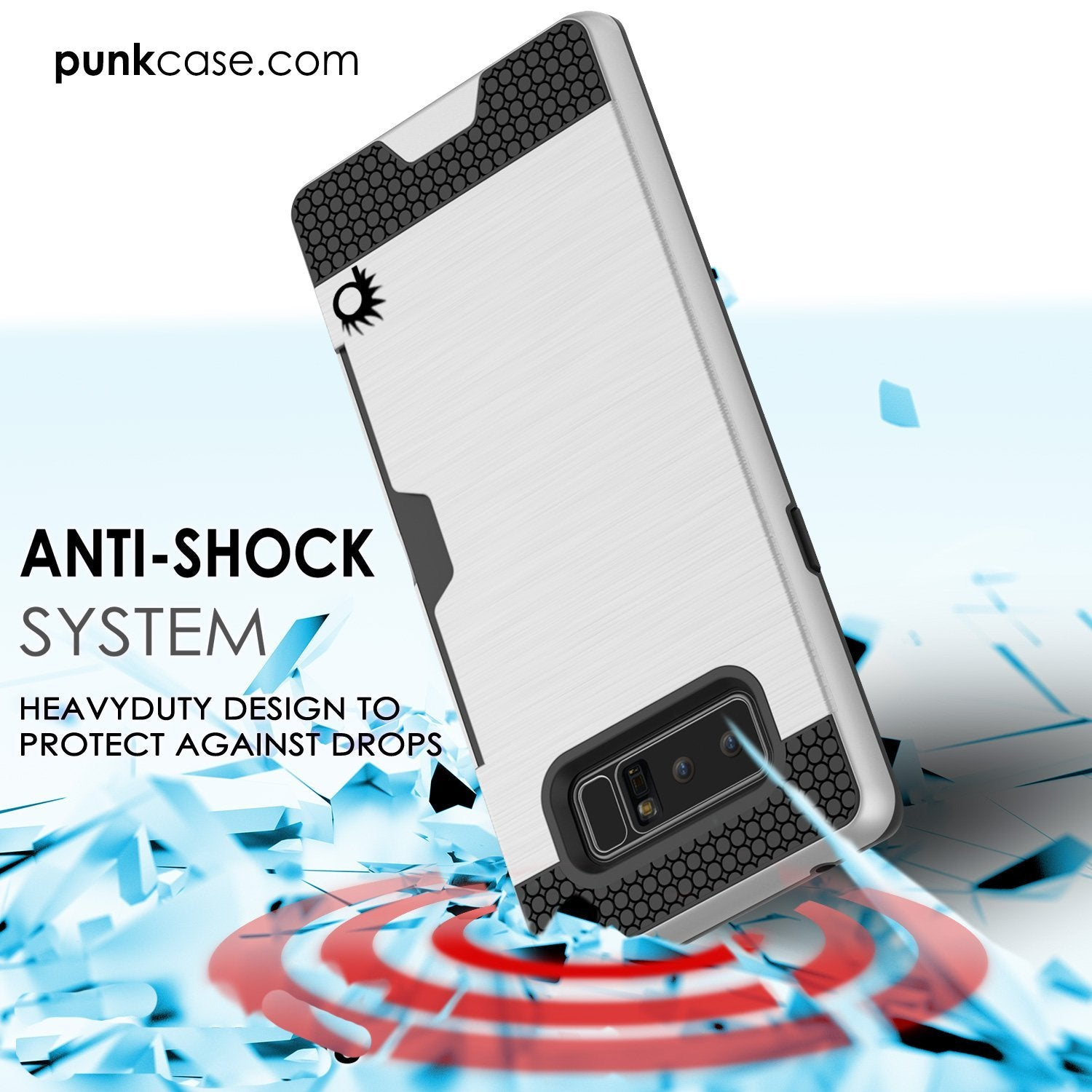 Galaxy Note 8 Case, PUNKcase [SLOT Series] Slim Fit with Screen Protector for Samsung Note 8 [Silver] - PunkCase NZ