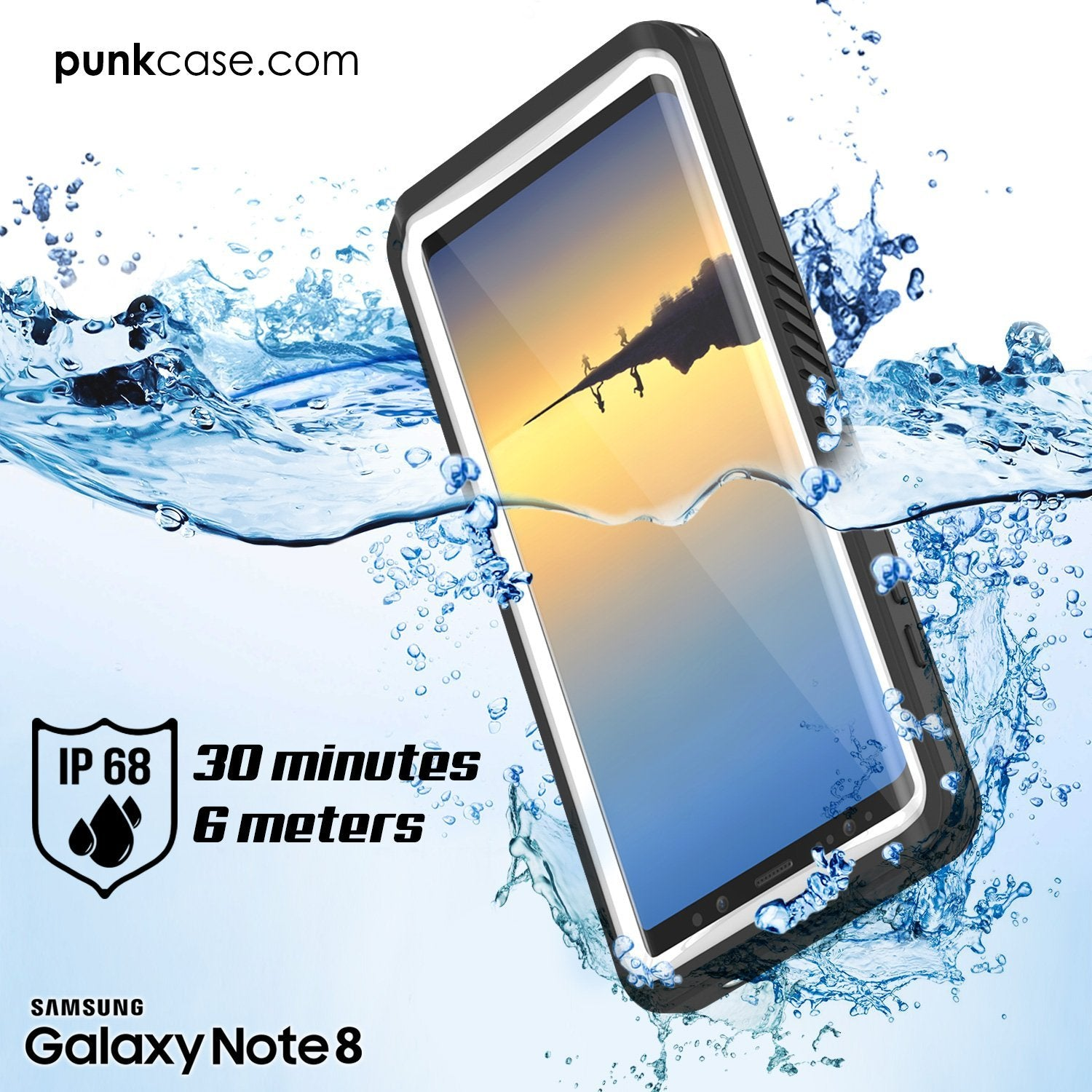 Galaxy Note 8 Case, Punkcase [Extreme Series] [Slim Fit] [IP68 Certified] [Shockproof] Armor Cover W/ Built In Screen Protector [White] - PunkCase NZ