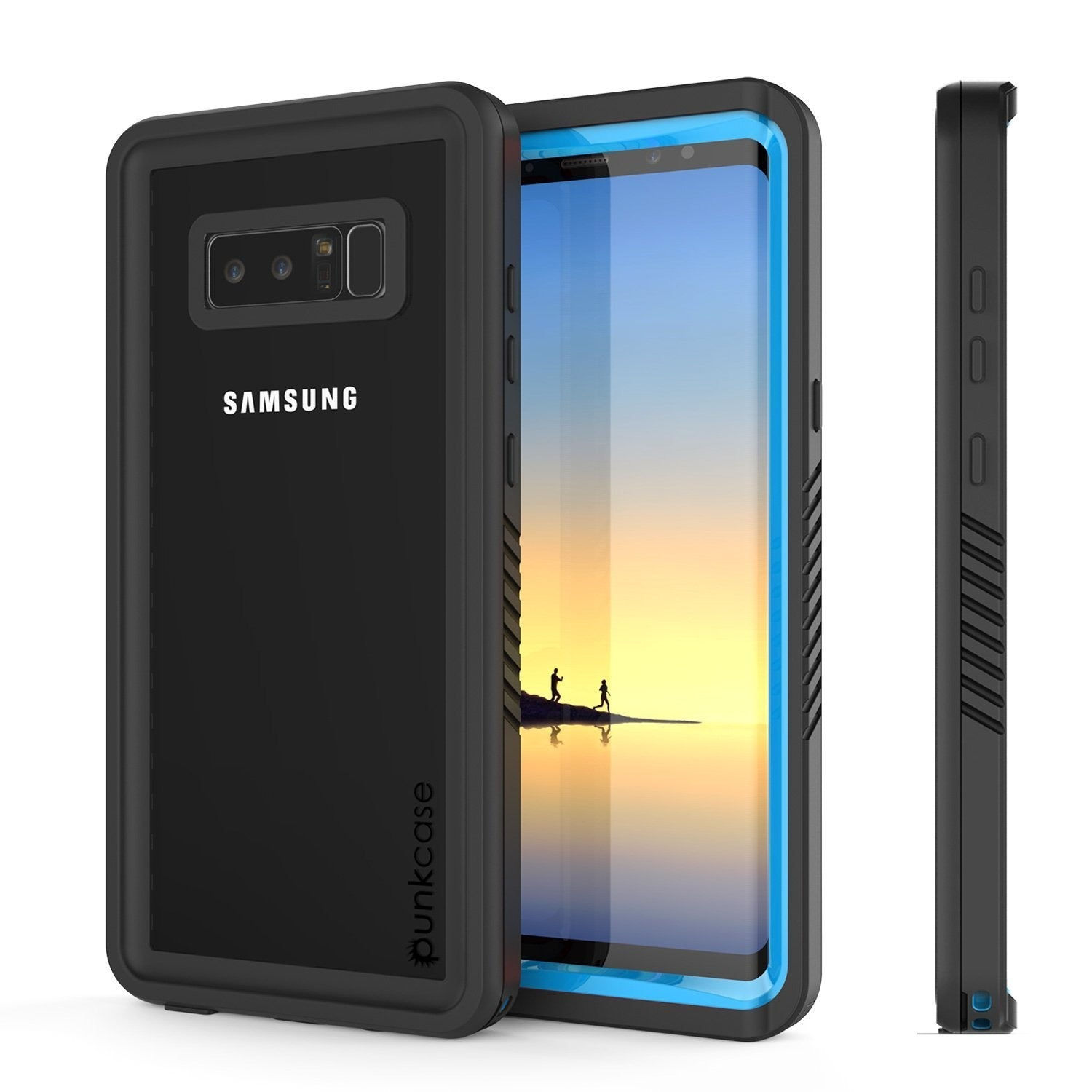 Galaxy Note 8 Case, Punkcase [Extreme Series] [Slim Fit] [IP68 Certified] [Shockproof] Armor Cover W/ Built In Screen Protector [Light Blue]