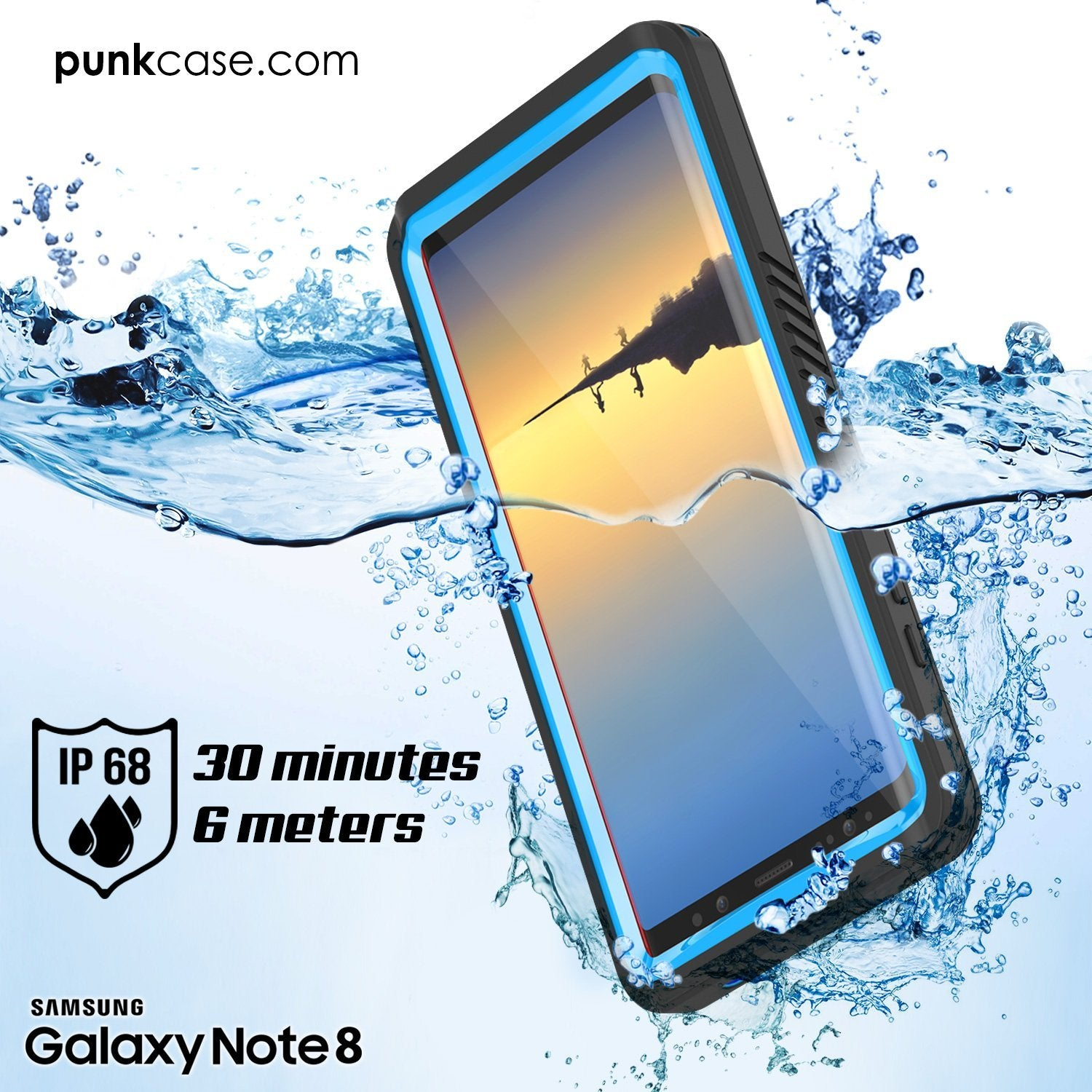 Galaxy Note 8 Case, Punkcase [Extreme Series] [Slim Fit] [IP68 Certified] [Shockproof] Armor Cover W/ Built In Screen Protector [Light Blue] - PunkCase NZ