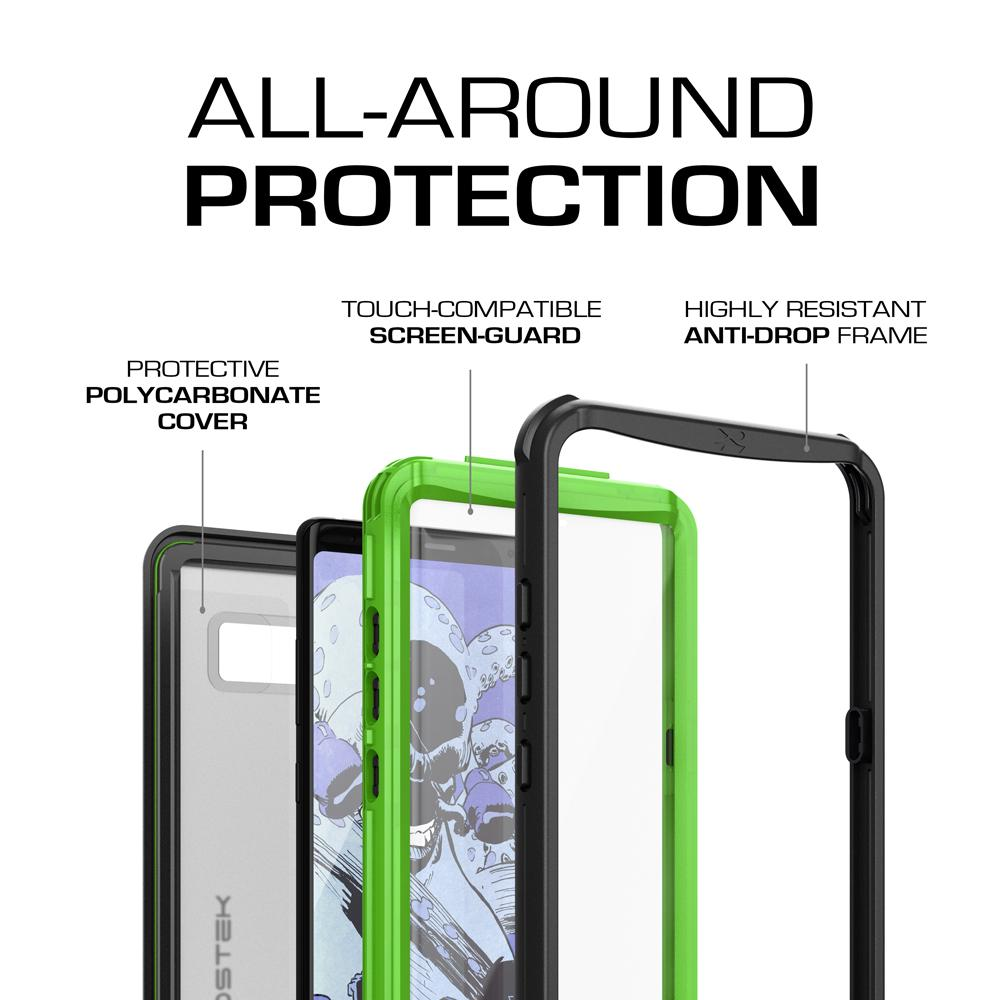 Galaxy Note 8, Ghostek Nautical Series Waterproof Case for Samsung Galaxy Note 8 Heavy Duty | Green - PunkCase NZ