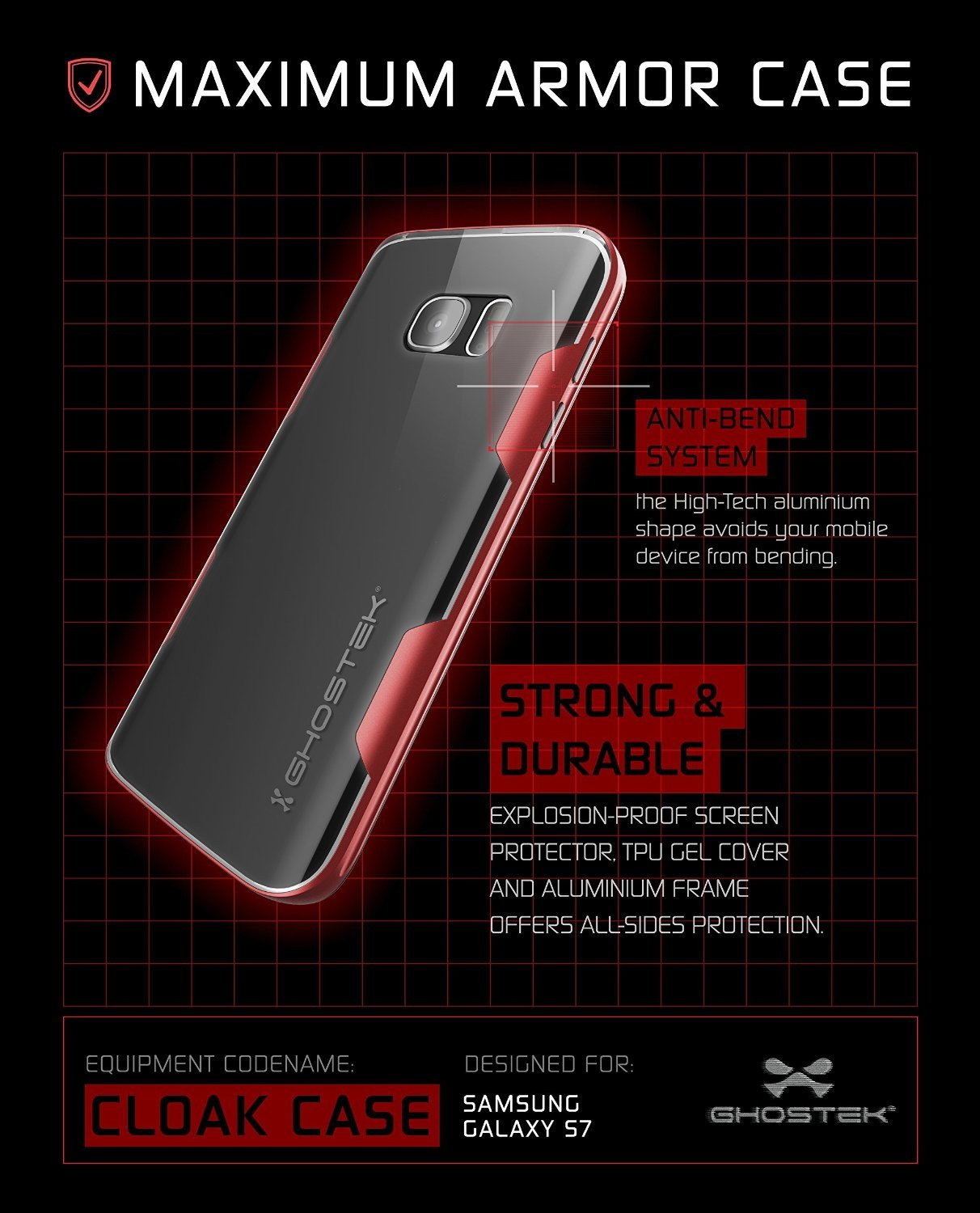 Galaxy S7 Case, Ghostek Cloak Series Red  Slim Premium Protective Hybrid Impact Glass Armor - PunkCase NZ
