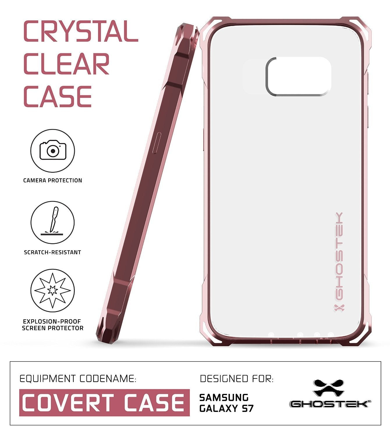 Galaxy S7 Case, Ghostek® Covert Pink Series Premium Impact Cover | Lifetime Warranty Exchange - PunkCase NZ