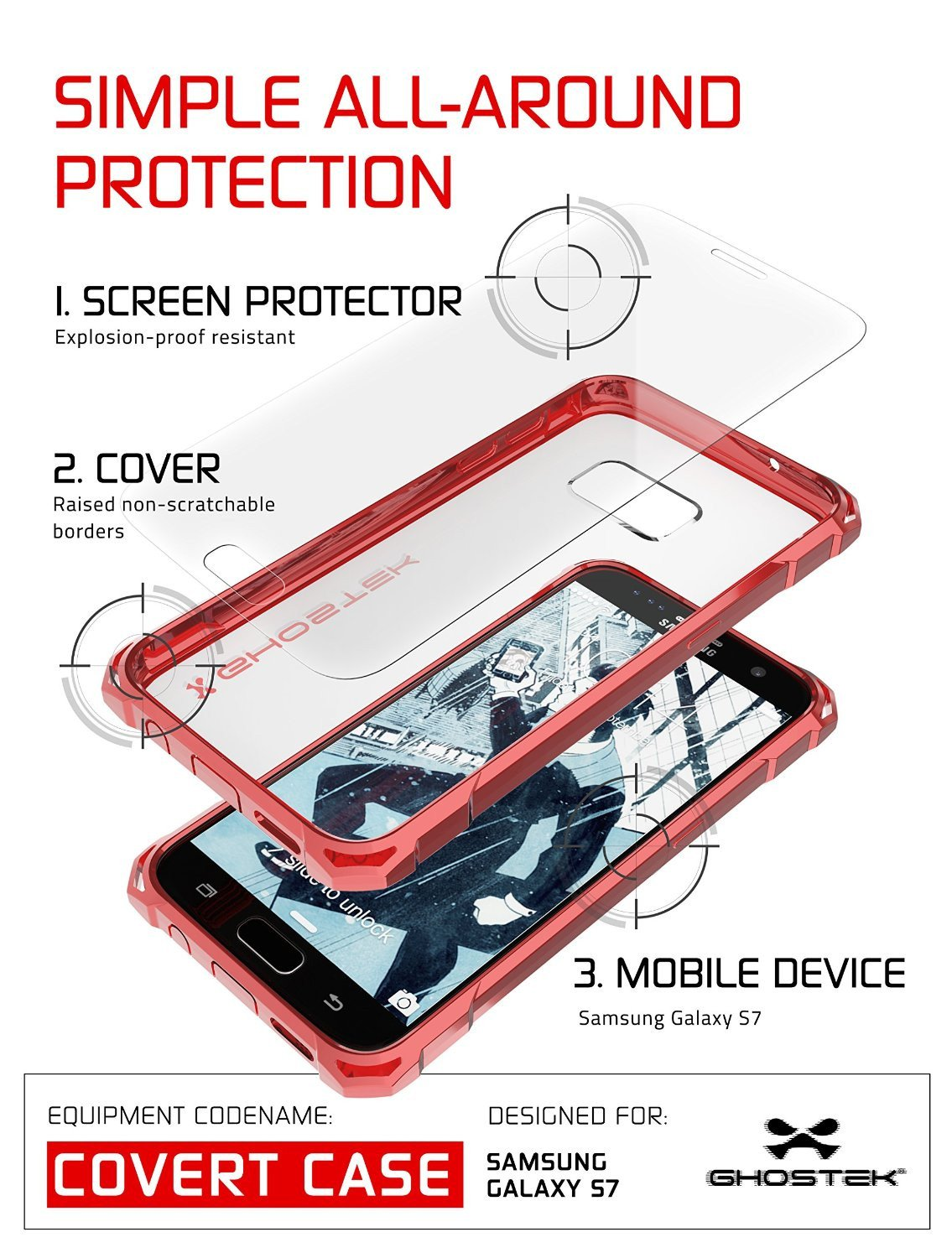 Galaxy S7 Case, Ghostek® Covert Red Series Premium Impact Cover | Lifetime Warranty Exchange - PunkCase NZ