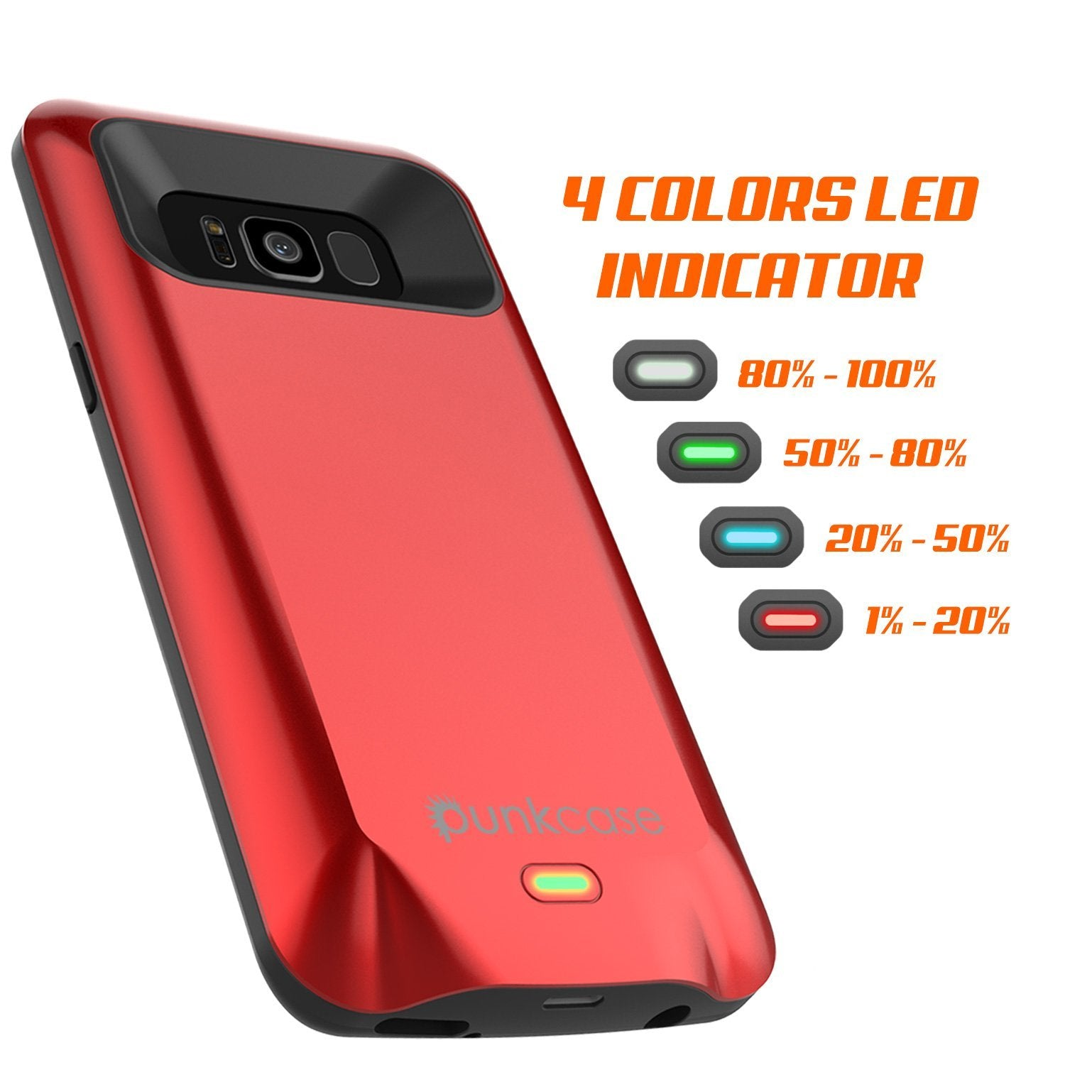 Galaxy S8 Battery Case, Punkcase 5000mAH Charger Case W/ Screen Protector | Integrated Kickstand & USB Port | IntelSwitch [Red] - PunkCase NZ