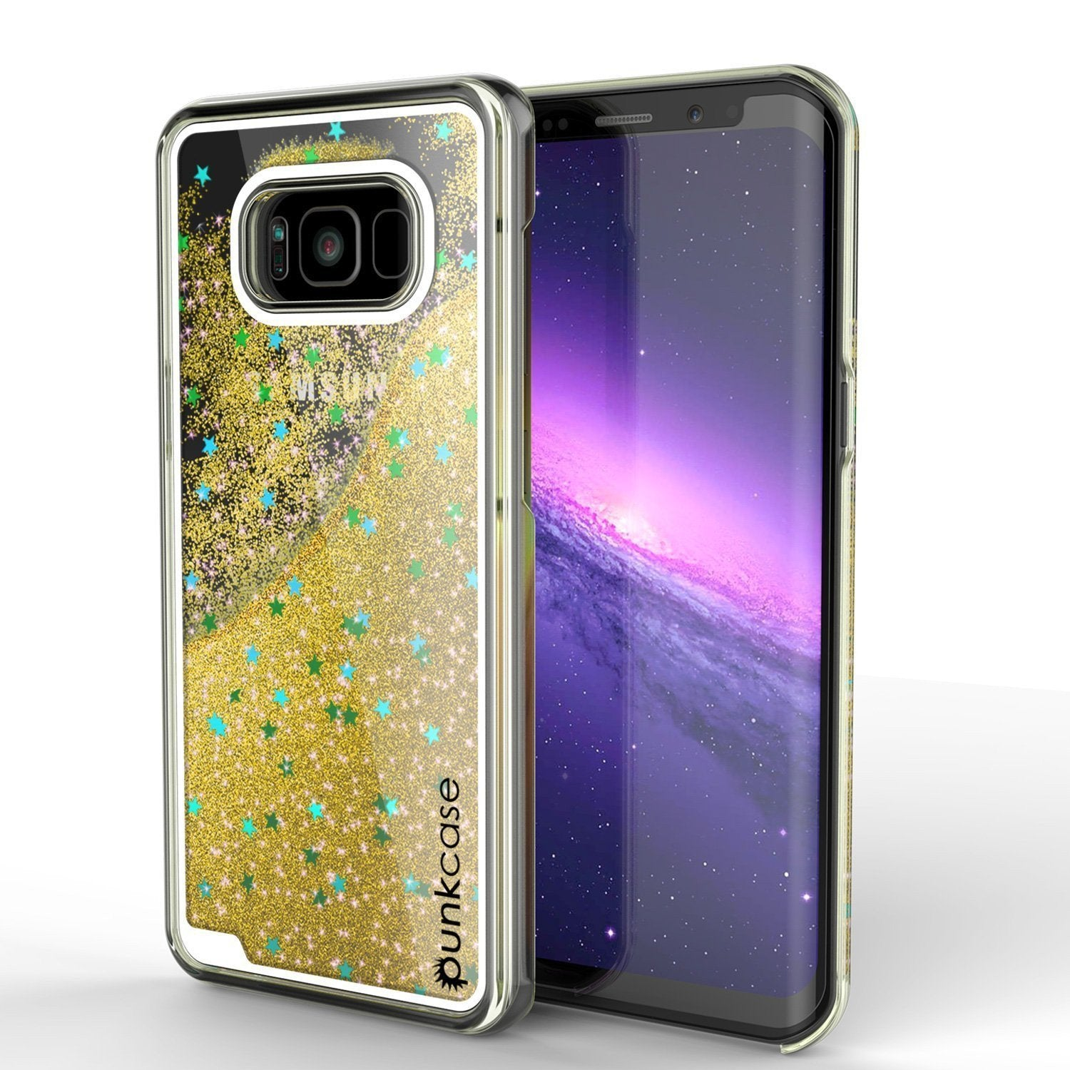 Galaxy S8 Case, Punkcase [Liquid Series] Protective Dual Layer Floating Glitter Cover with lots of Bling & Sparkle + PunkShield Screen Protector for Samsung S8 [Gold]