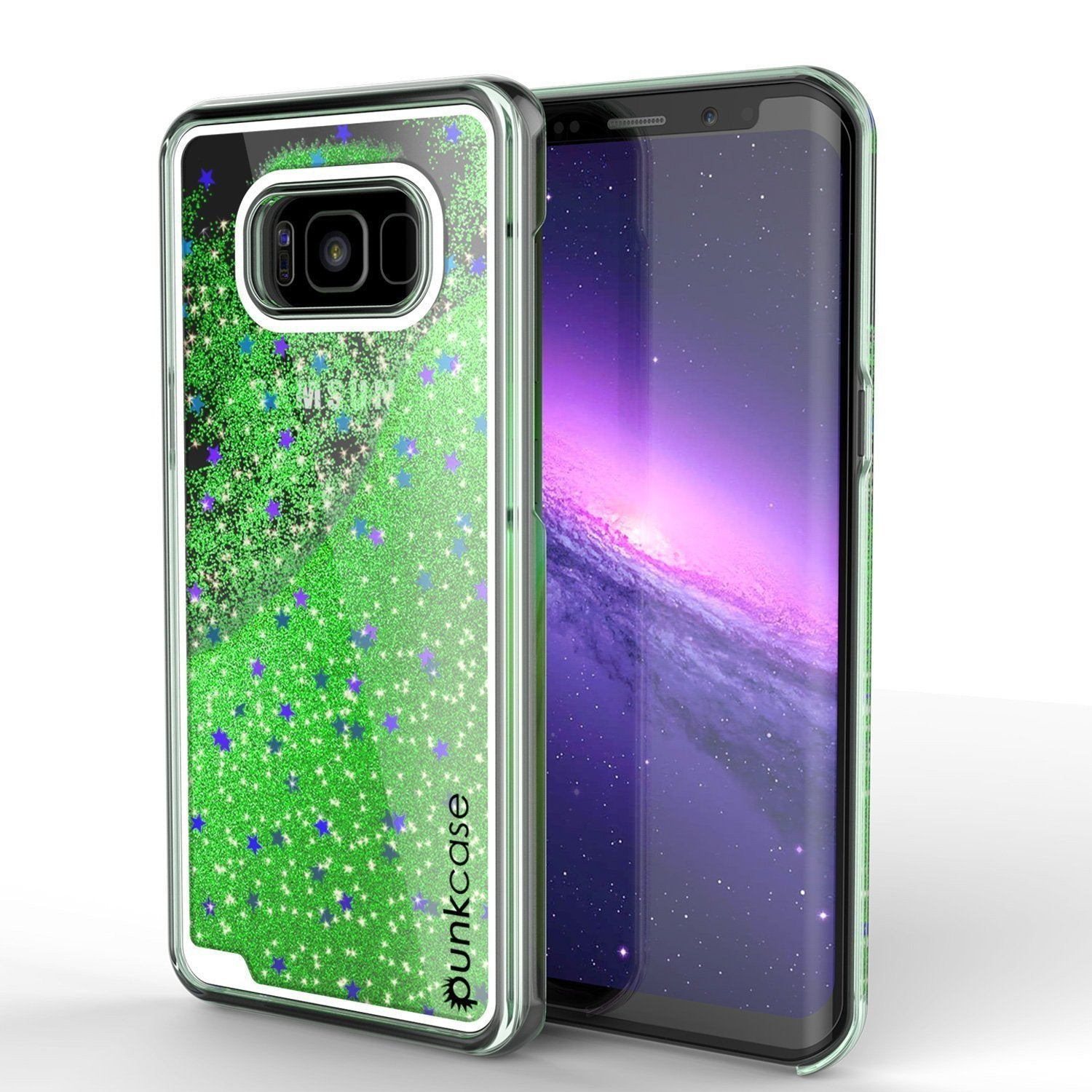 Galaxy S8 Case, Punkcase [Liquid Series] Protective Dual Layer Floating Glitter Cover with lots of Bling & Sparkle + PunkShield Screen Protector for Samsung S8 [Green]