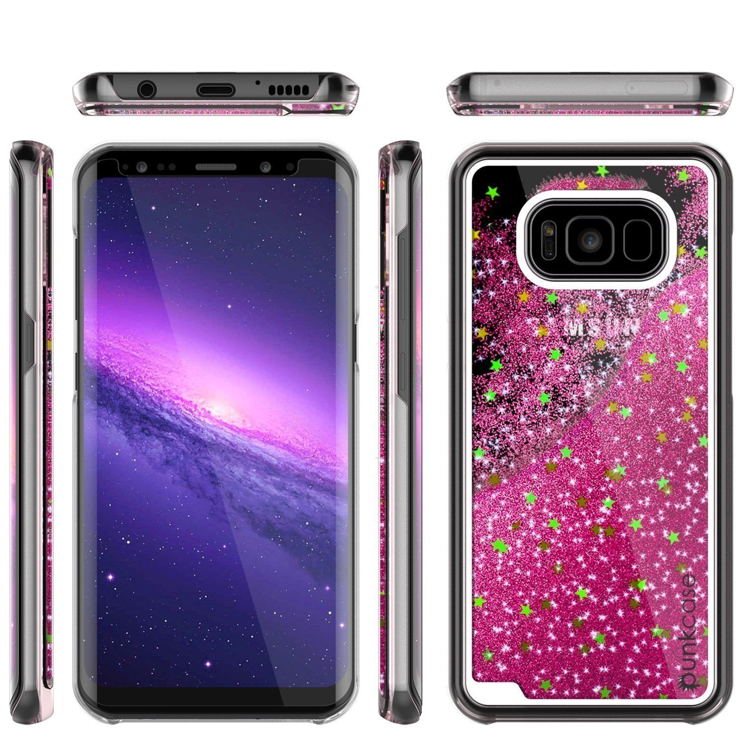 Galaxy S8 Case, Punkcase [Liquid Series] Protective Dual Layer Floating Glitter Cover with lots of Bling & Sparkle + PunkShield Screen Protector for Samsung S8 [Pink] - PunkCase NZ