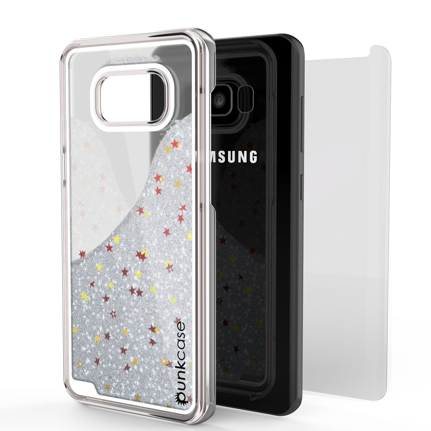 Galaxy S8 Case, Punkcase [Liquid Series] Protective Dual Layer Floating Glitter Cover with lots of Bling & Sparkle + PunkShield Screen Protector for Samsung S8 [Silver] - PunkCase NZ