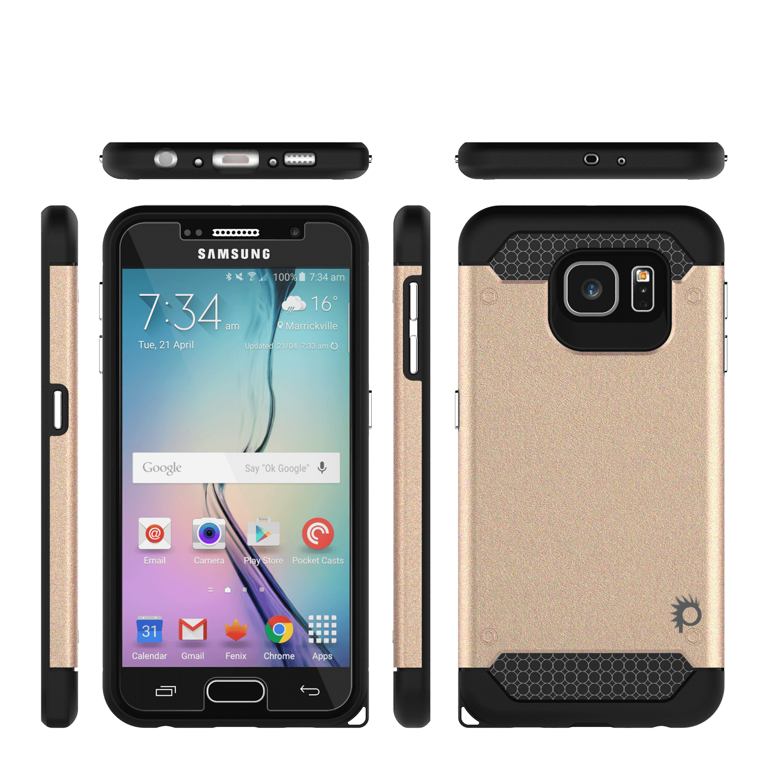 Galaxy s6 Case PunkCase Galactic Gold Series Slim Armor Soft Cover Case w/ Tempered Glass - PunkCase NZ