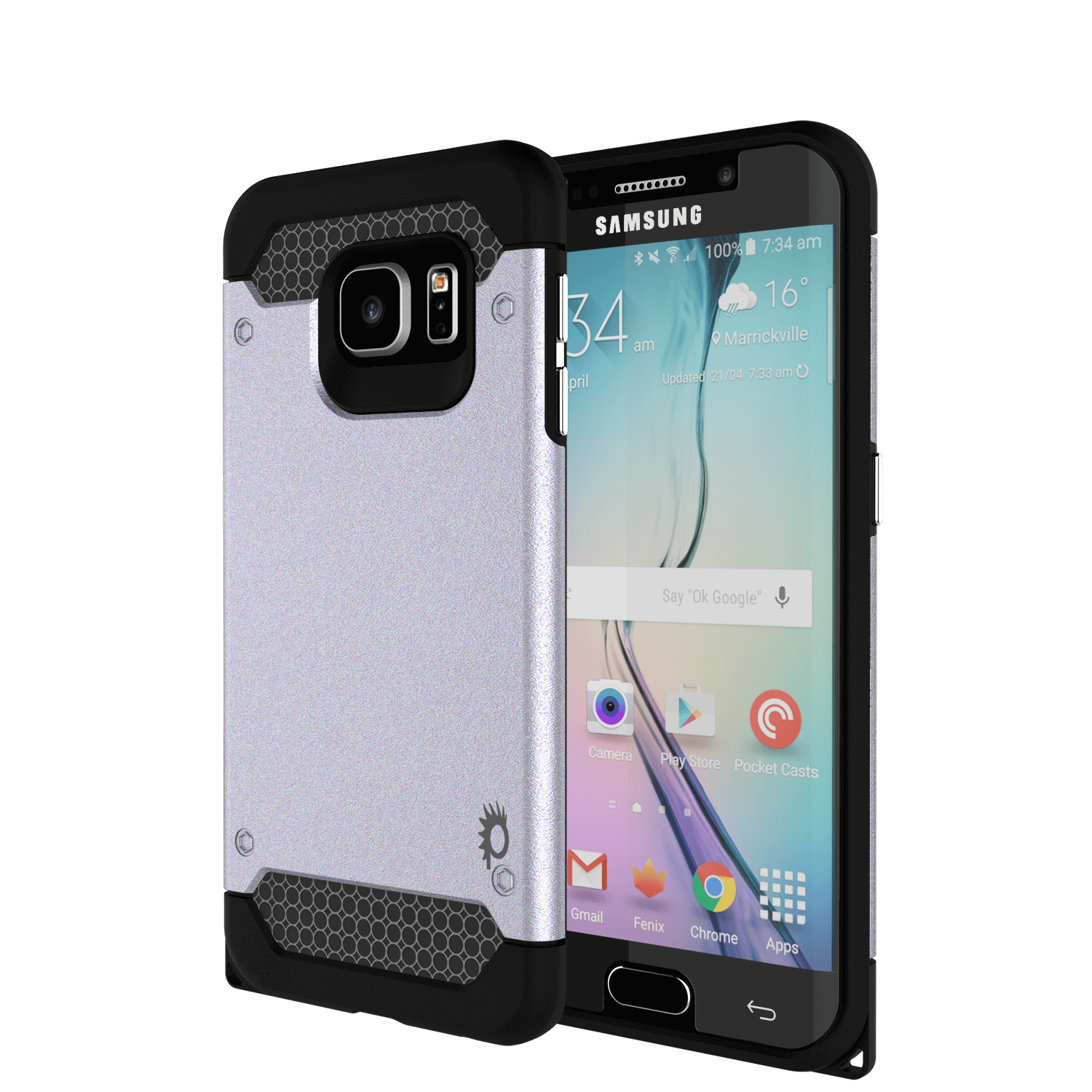 Galaxy s6 EDGE Case PunkCase Galactic SIlver Series Slim Armor Soft Cover w/ Screen Protector