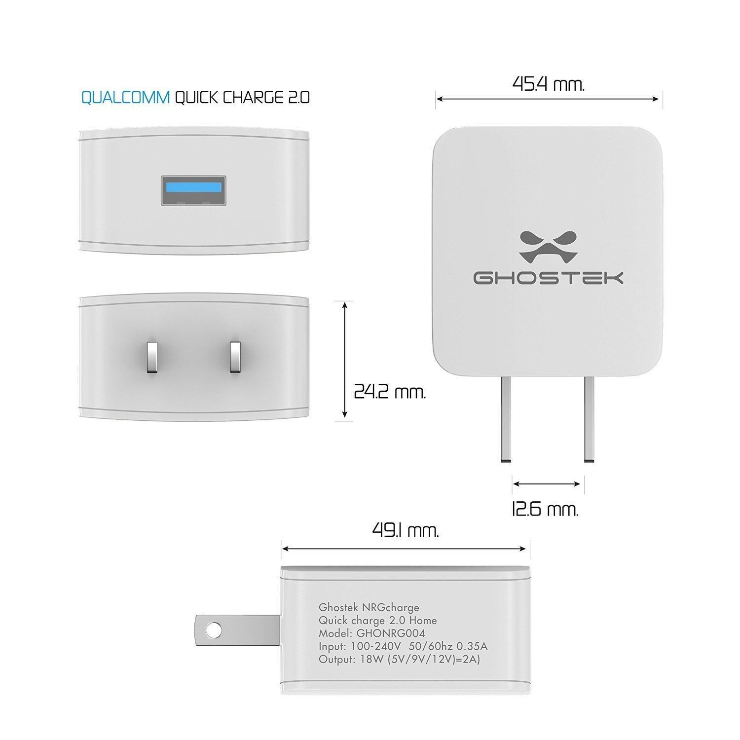 Ghostek® NRGcharge QuickCharge 2.0 Rapid High-speed Fast Wall Home White Charger w/ Micro USB Cable - PunkCase NZ