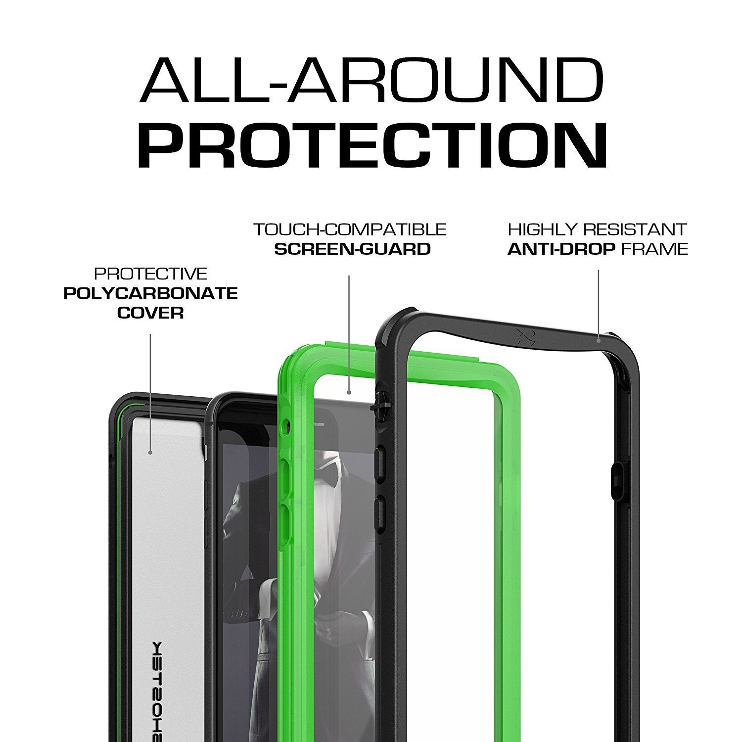 iPhone 8+ Plus case, Ghostek®  Nautical Series  for iPhone 8+ Plus Rugged Heavy Duty Case |  GREEN - PunkCase NZ