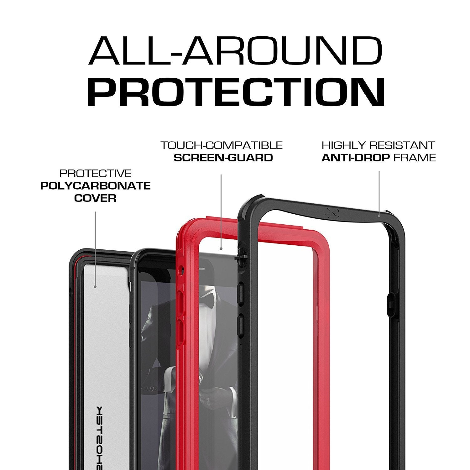 iPhone 8+ Plus case, Ghostek®  Nautical Series  for iPhone 8+ Plus Rugged Heavy Duty Case |  Red - PunkCase NZ