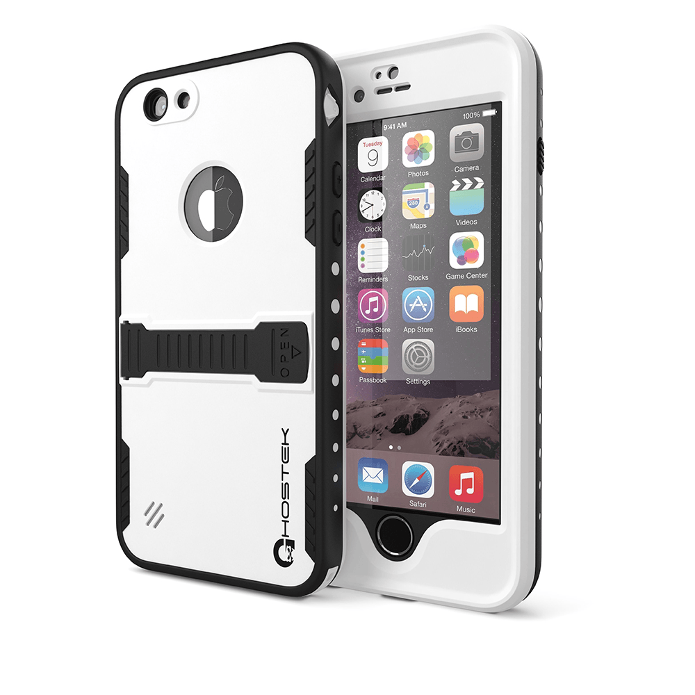 iPhone 6 Plus Waterproof Case, Ghostek Atomic White w/ Attached Screen Protector - Lifetime Warranty