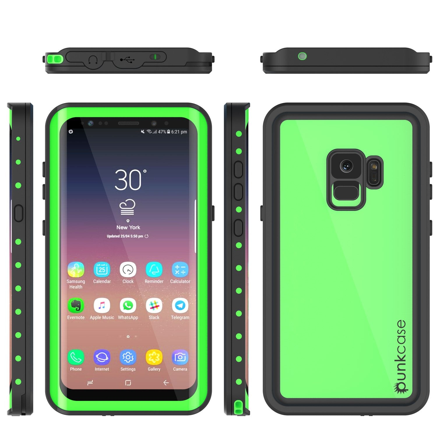 Galaxy S9 Waterproof Case PunkCase StudStar Light Green Thin 6.6ft Underwater IP68 ShockProof - PunkCase NZ
