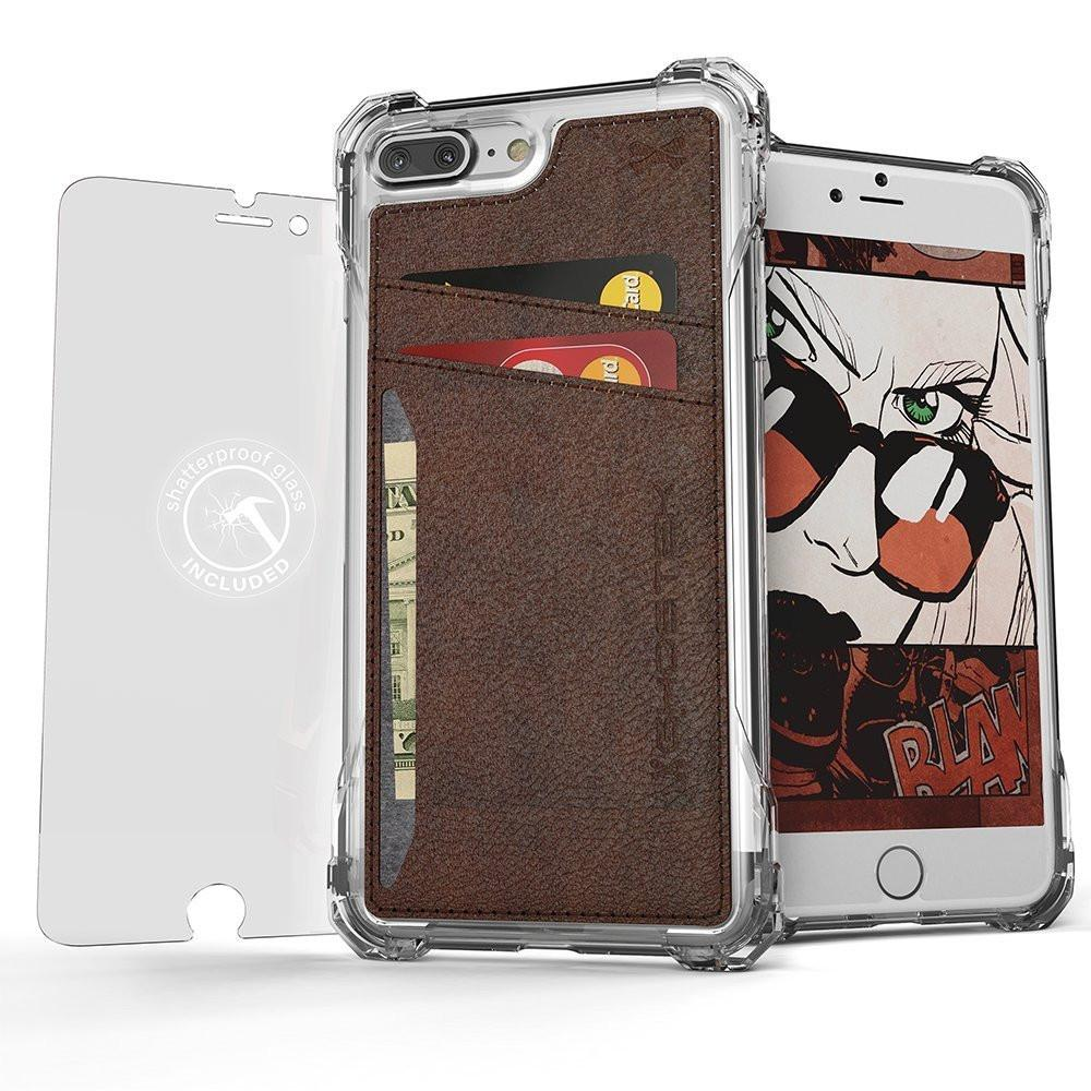 iPhone 7+ Plus Wallet Case, Ghostek Exec Brown Series | Slim Armor Hybrid Impact Bumper | TPU PU Leather Credit Card Slot Holder Sleeve Cover - PunkCase NZ