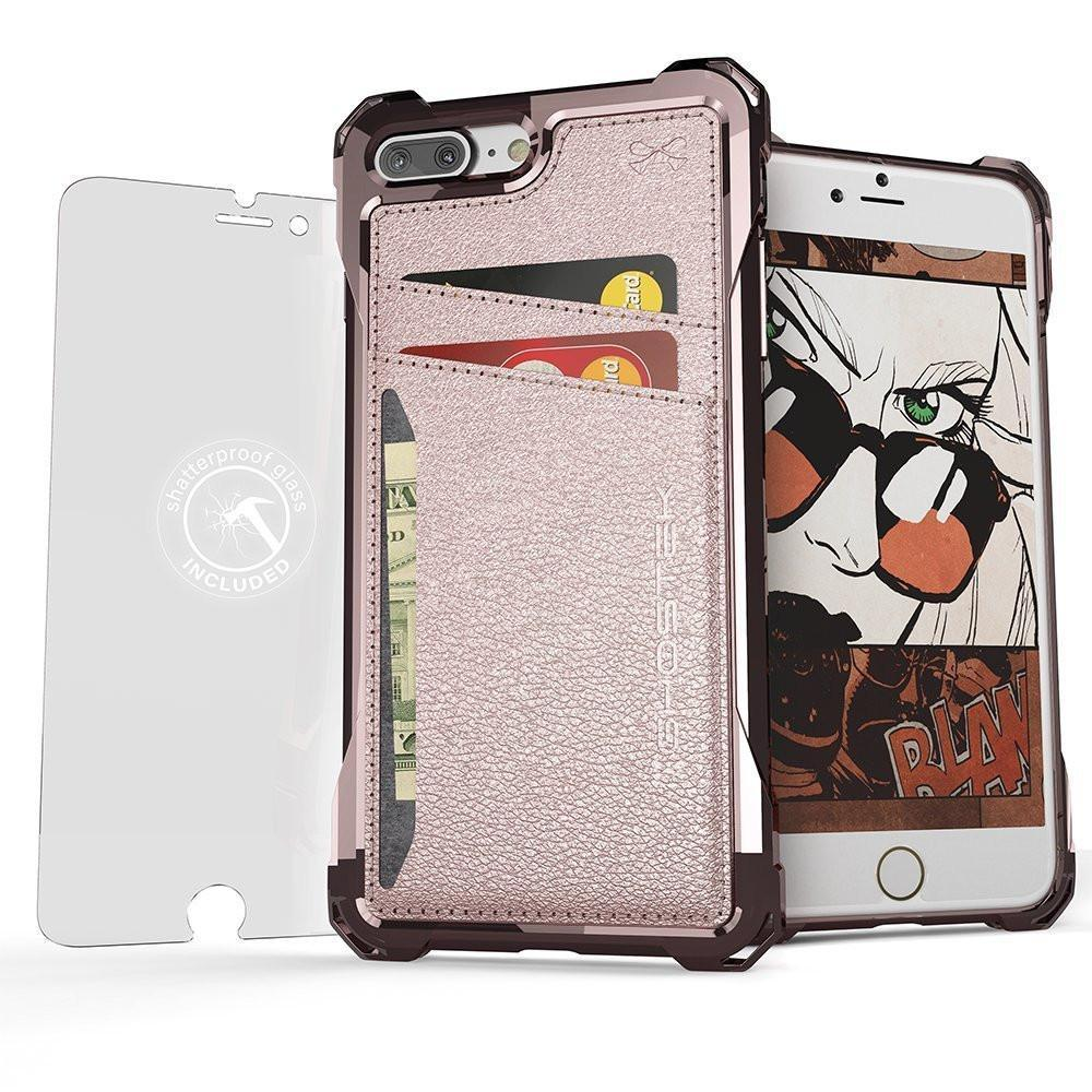 iPhone 8+Plus Wallet Case, Ghostek Exec Pink Series | Slim Armor Hybrid Impact Bumper | TPU PU Leather Credit Card Slot Holder Sleeve Cover